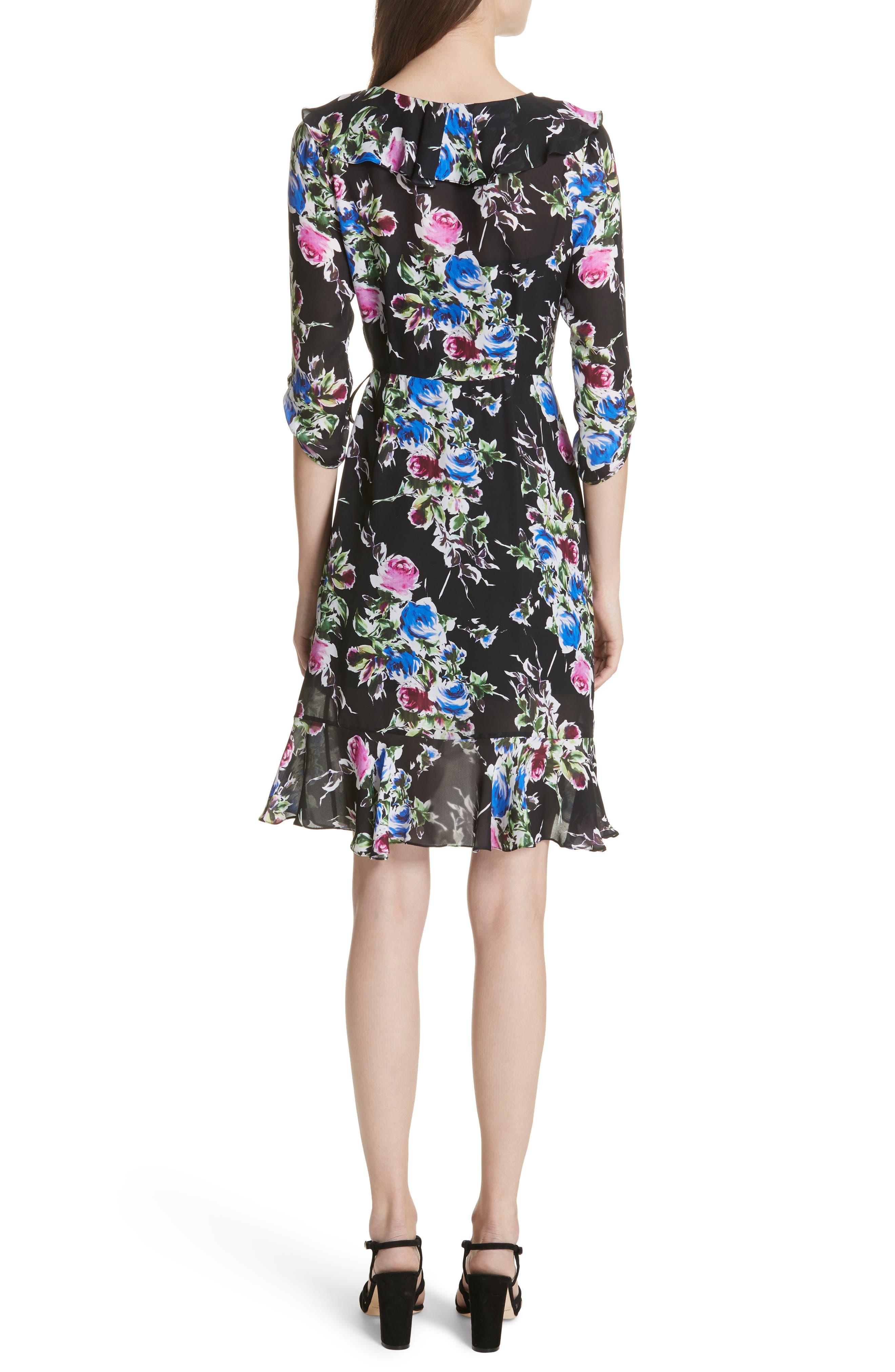 Audrey Floral Silk Wrap Dress,                             Alternate thumbnail 2, color,                             001