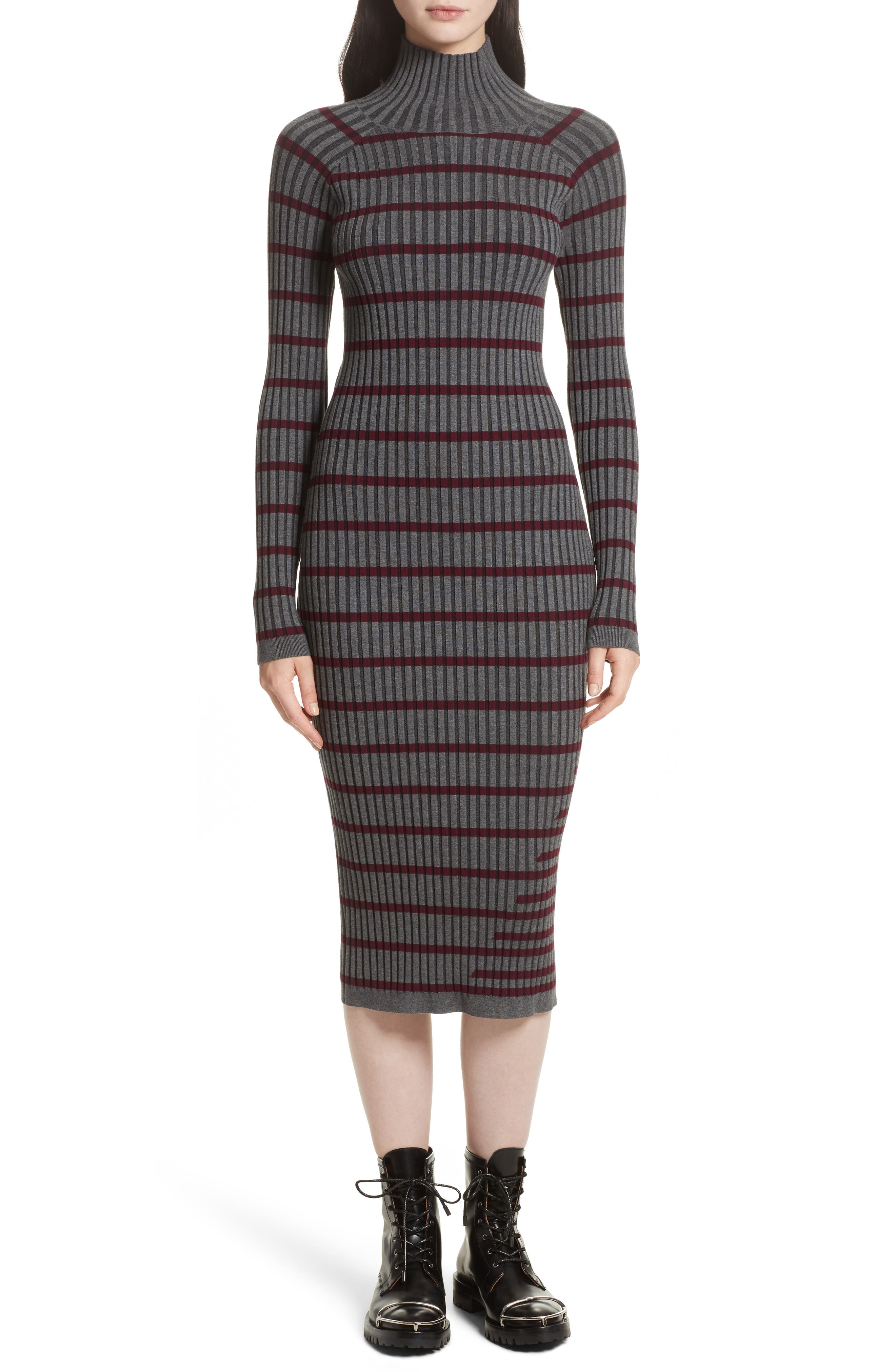 Stripe Knit Turtleneck Dress,                             Alternate thumbnail 5, color,                             004