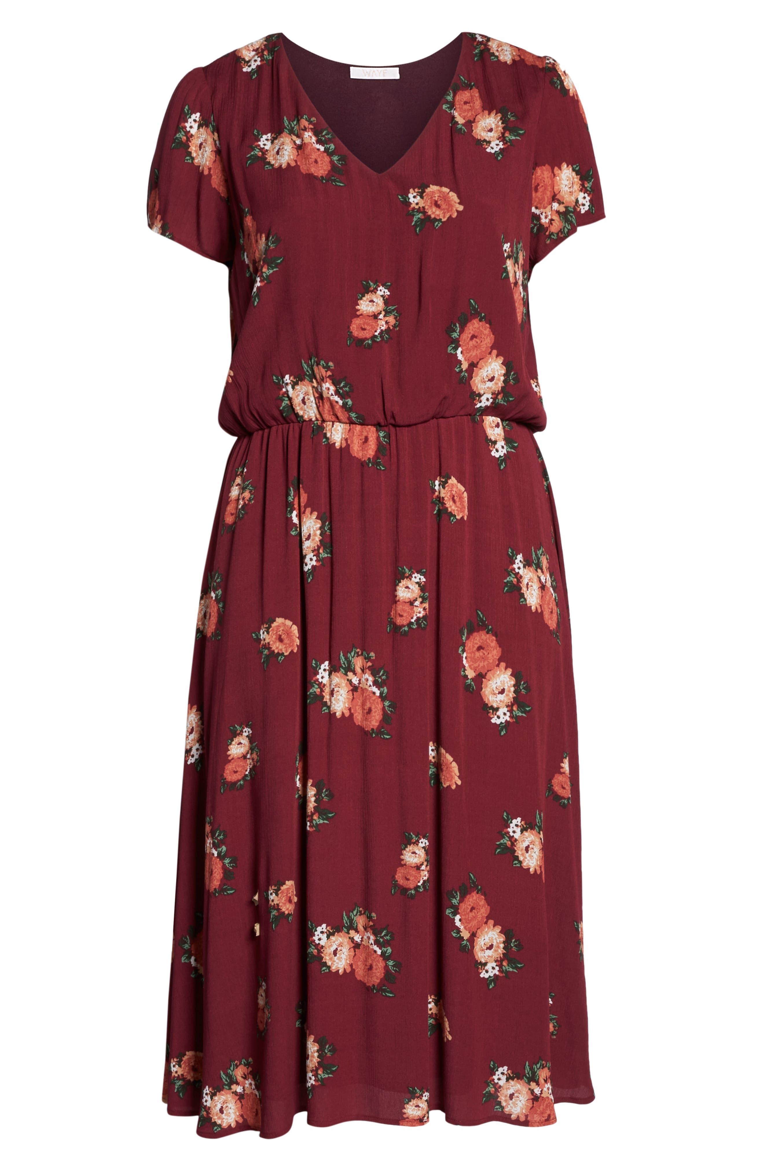 Blouson Midi Dress,                             Alternate thumbnail 7, color,                             RED RUMBA FLORAL
