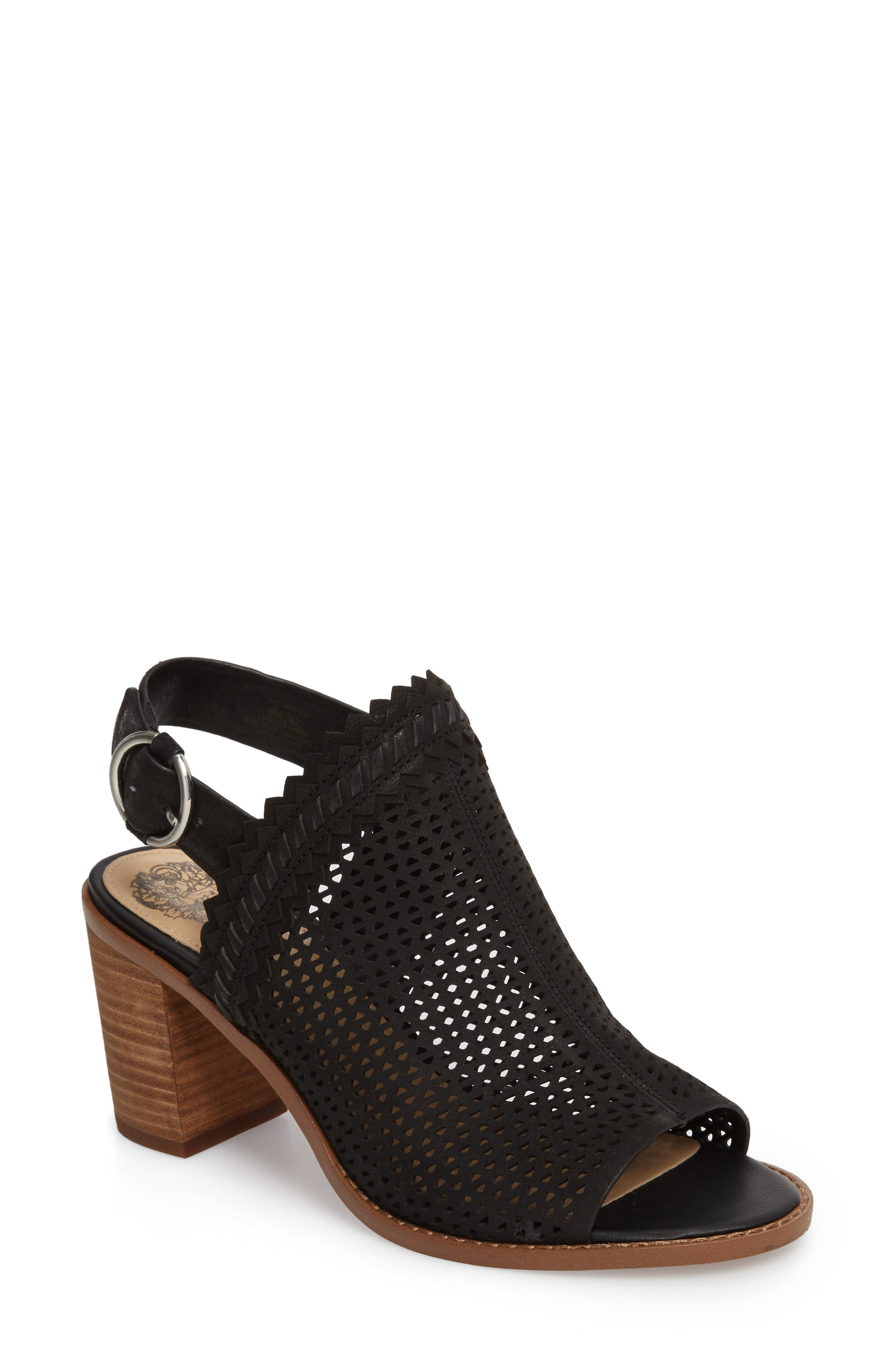 Tricinda Block Heel Sandal,                             Main thumbnail 1, color,                             BLACK LEATHER