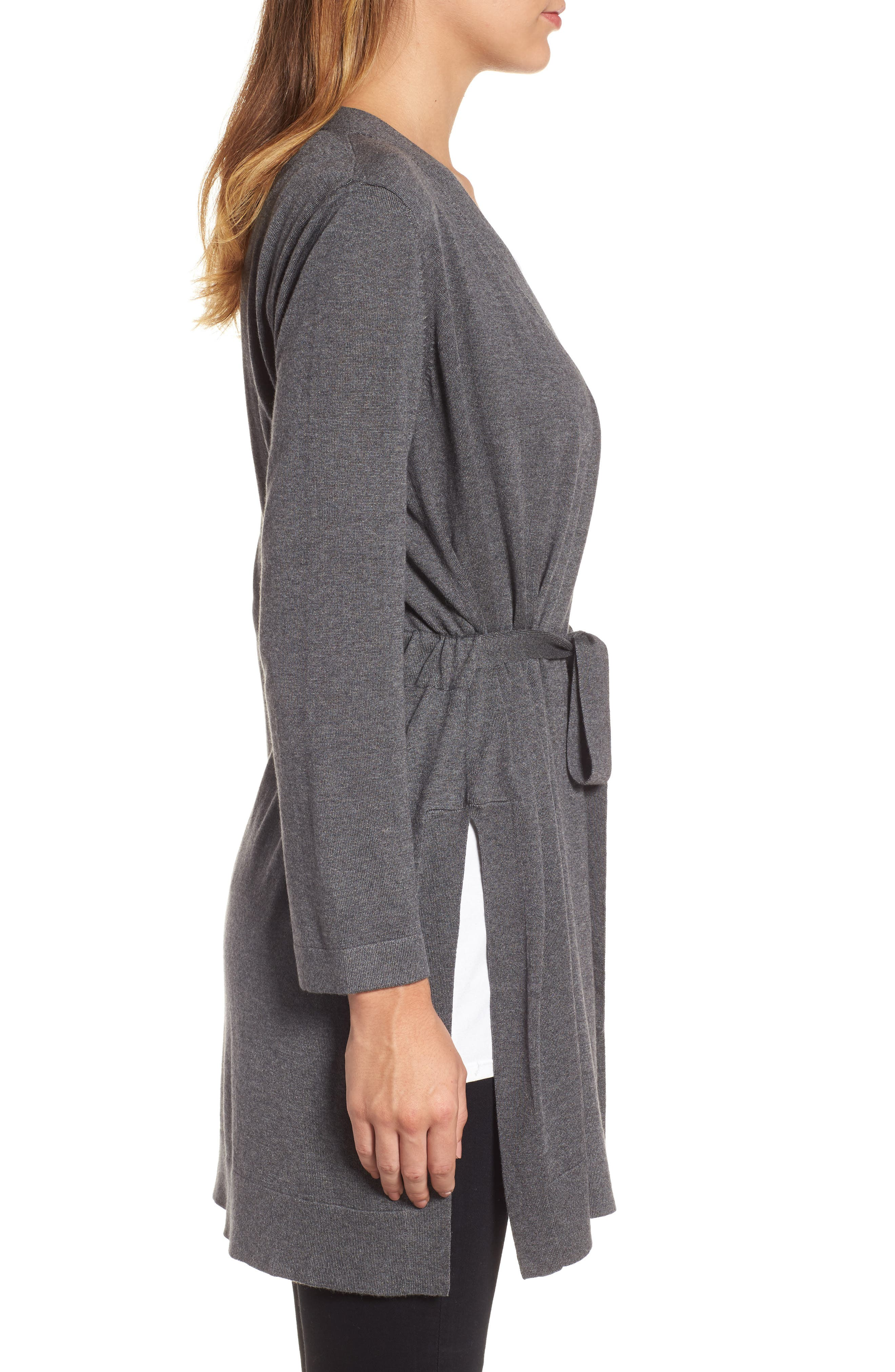 Tie Waist Tencel<sup>®</sup> Lyocell Blend Cardigan,                             Alternate thumbnail 14, color,