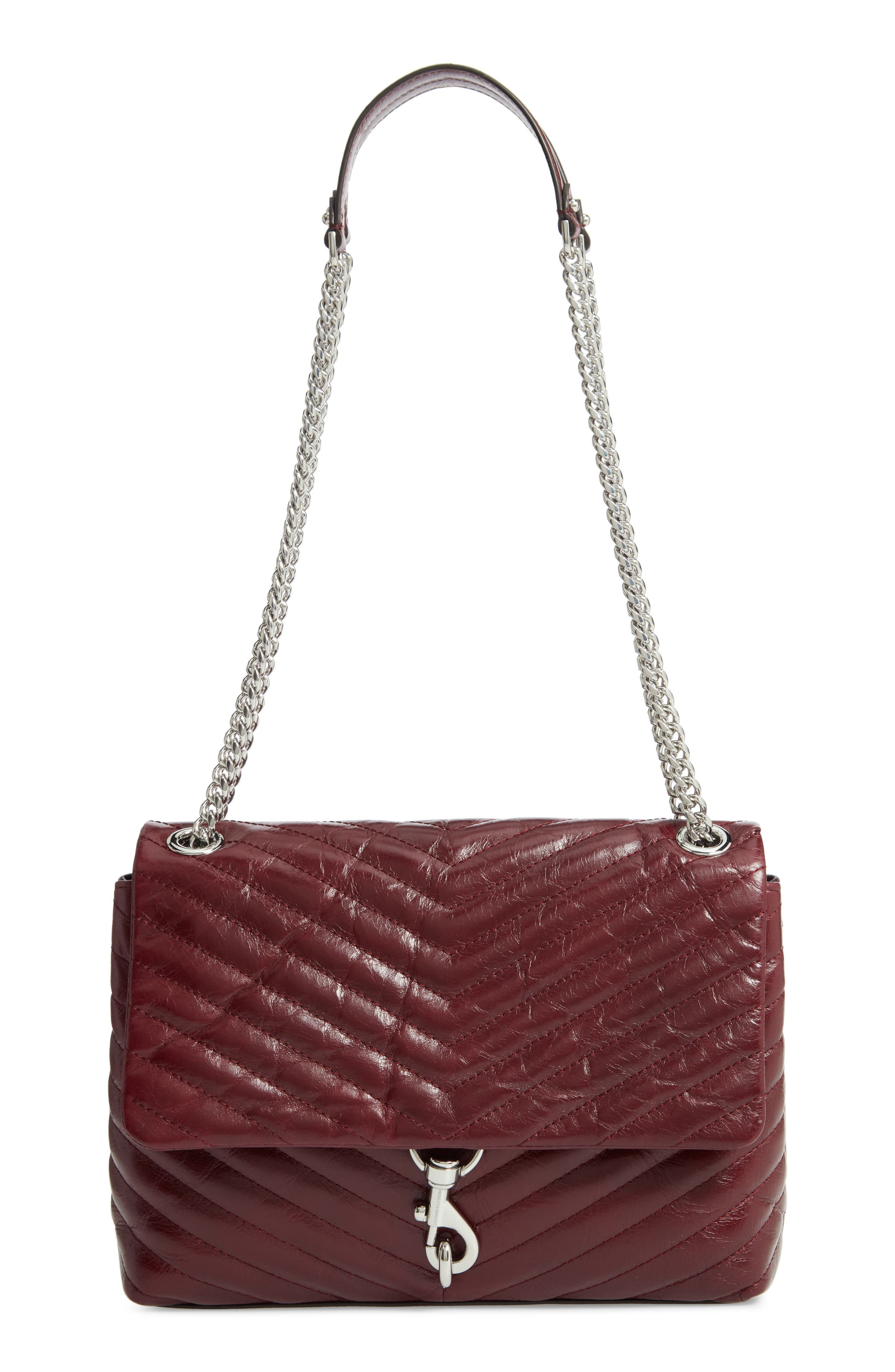 Edie Flap Front Leather Shoulder Bag,                         Main,                         color, BORDEAUX