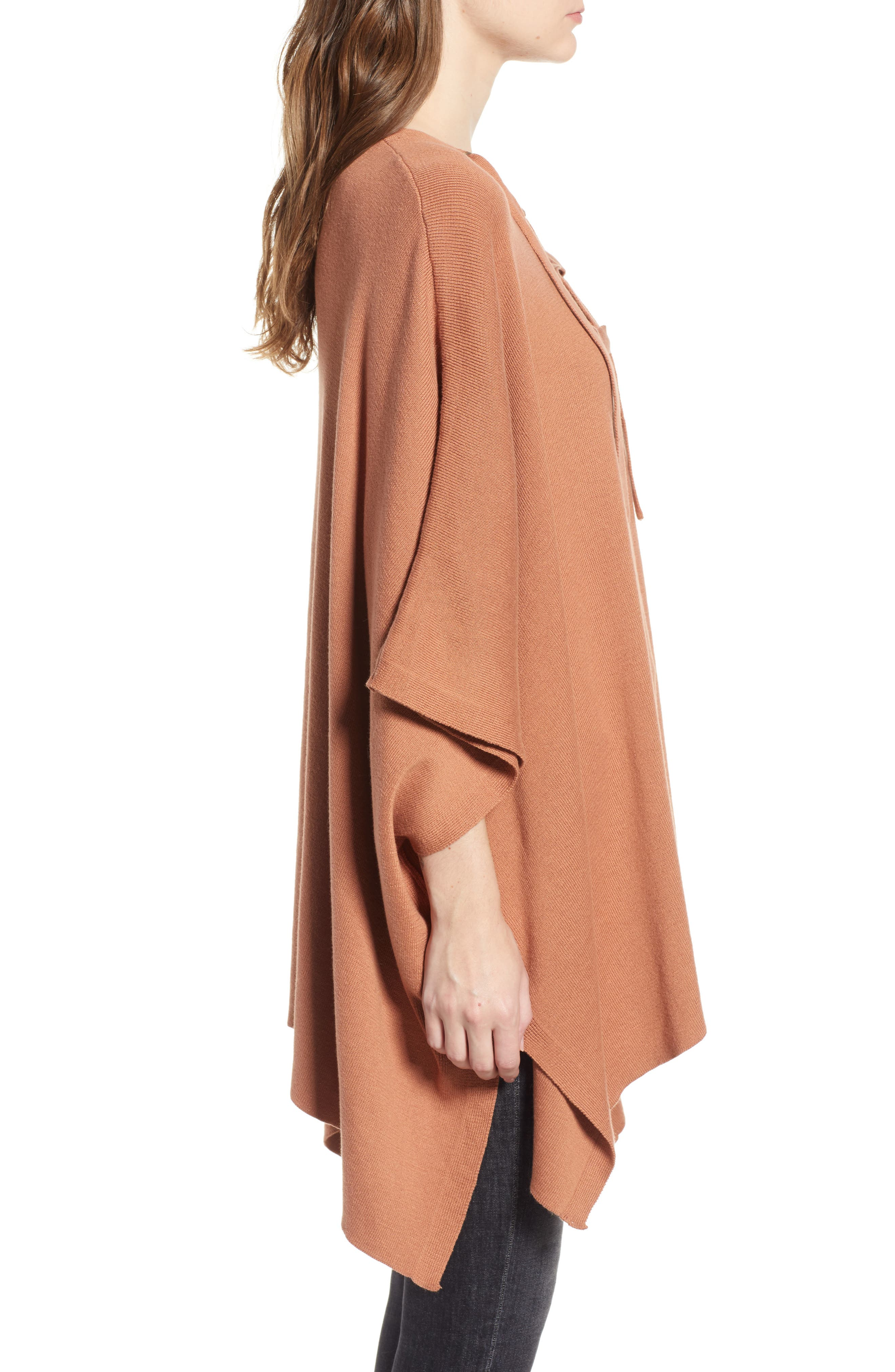 Harper Lace Up Poncho Sweater,                             Alternate thumbnail 3, color,                             832