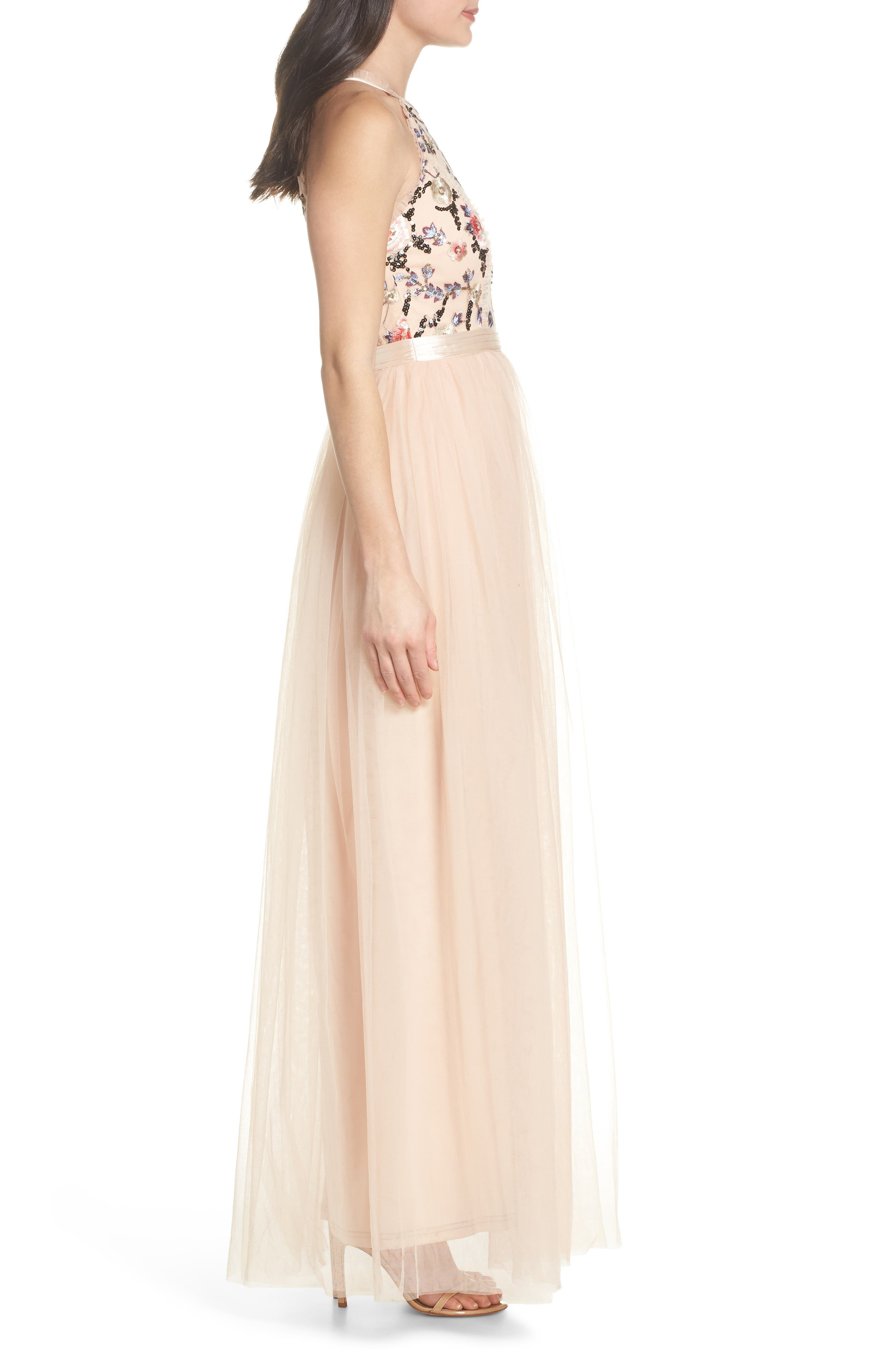 Cydney Sequin Bodice Gown,                             Alternate thumbnail 3, color,                             NUDE