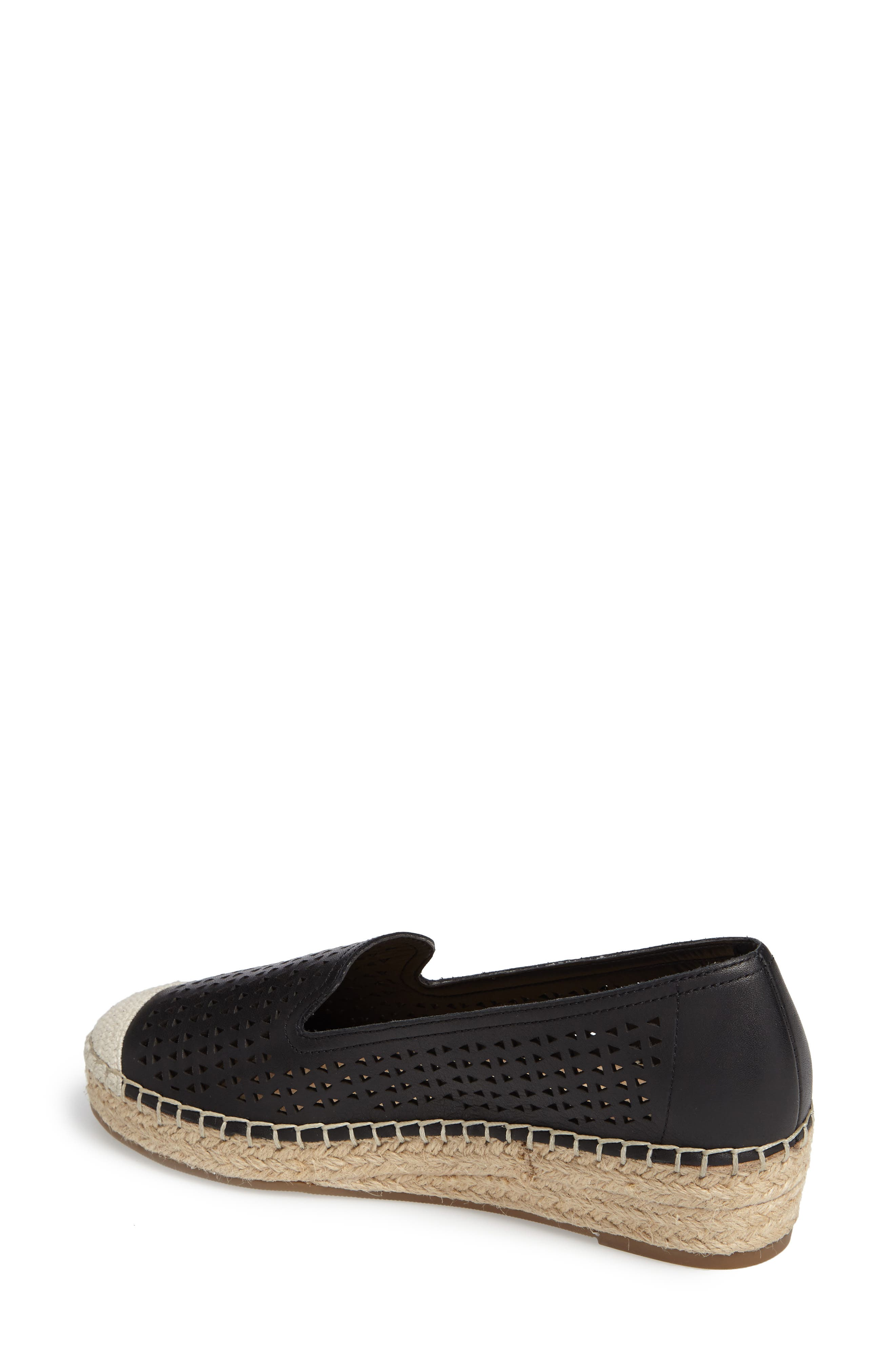 Channing Cutout Espadrille Loafer,                             Alternate thumbnail 2, color,                             BLACK LEATHER