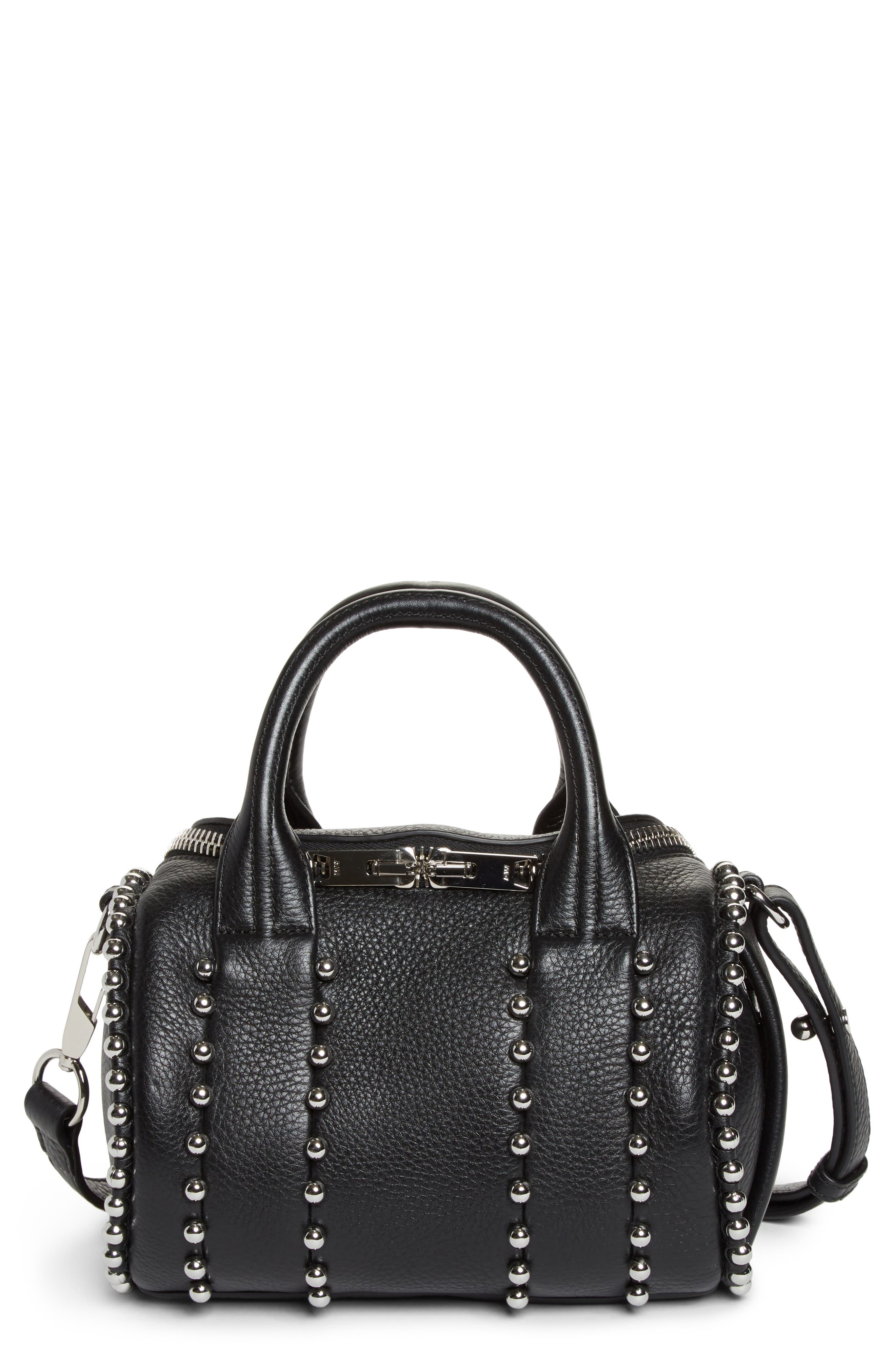 Mini Rockie Studded Leather Crossbody Satchel,                             Main thumbnail 1, color,                             BLACK