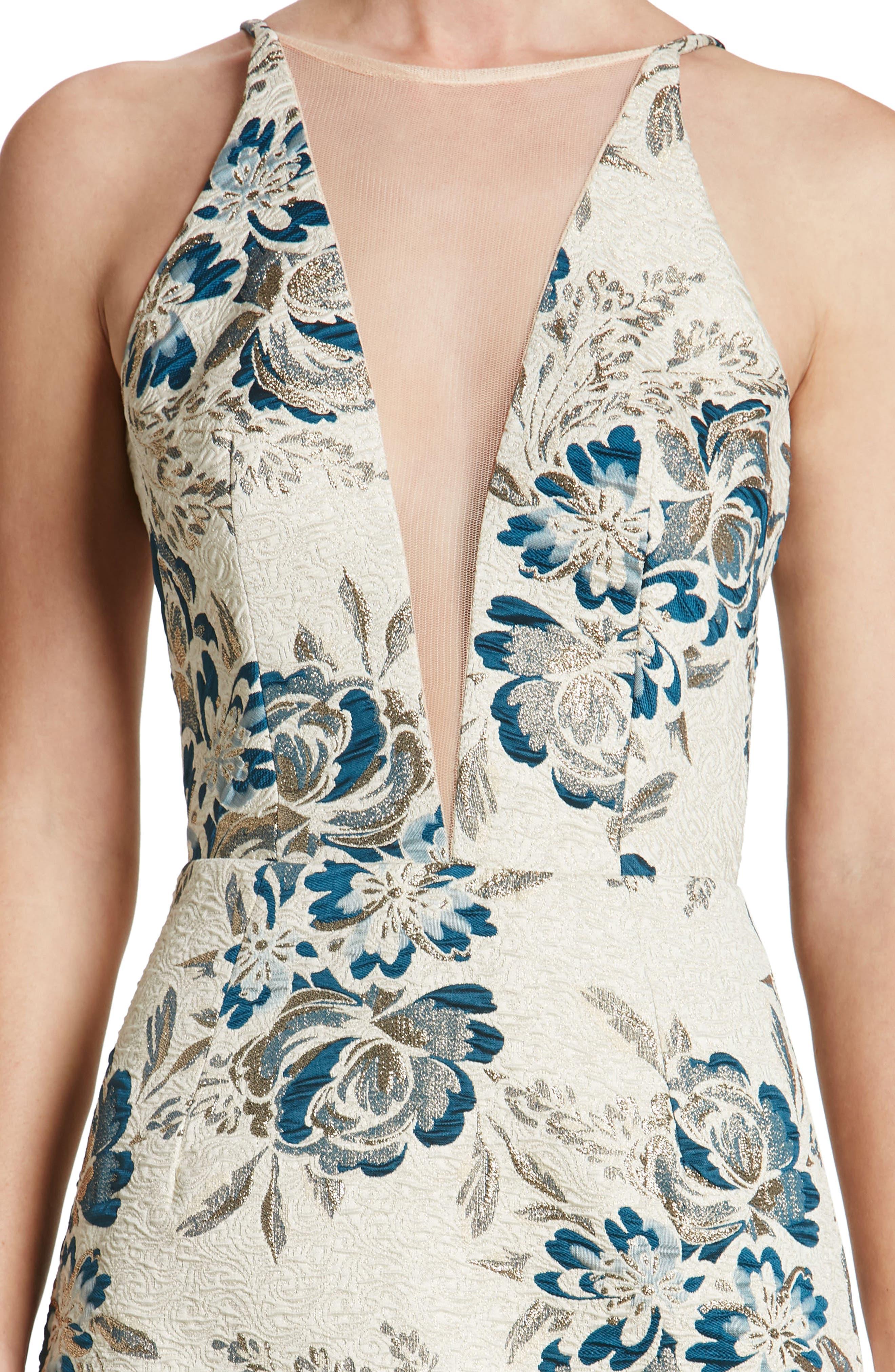 Kennedy Mesh Plunge Sheath Dress,                             Alternate thumbnail 4, color,                             426