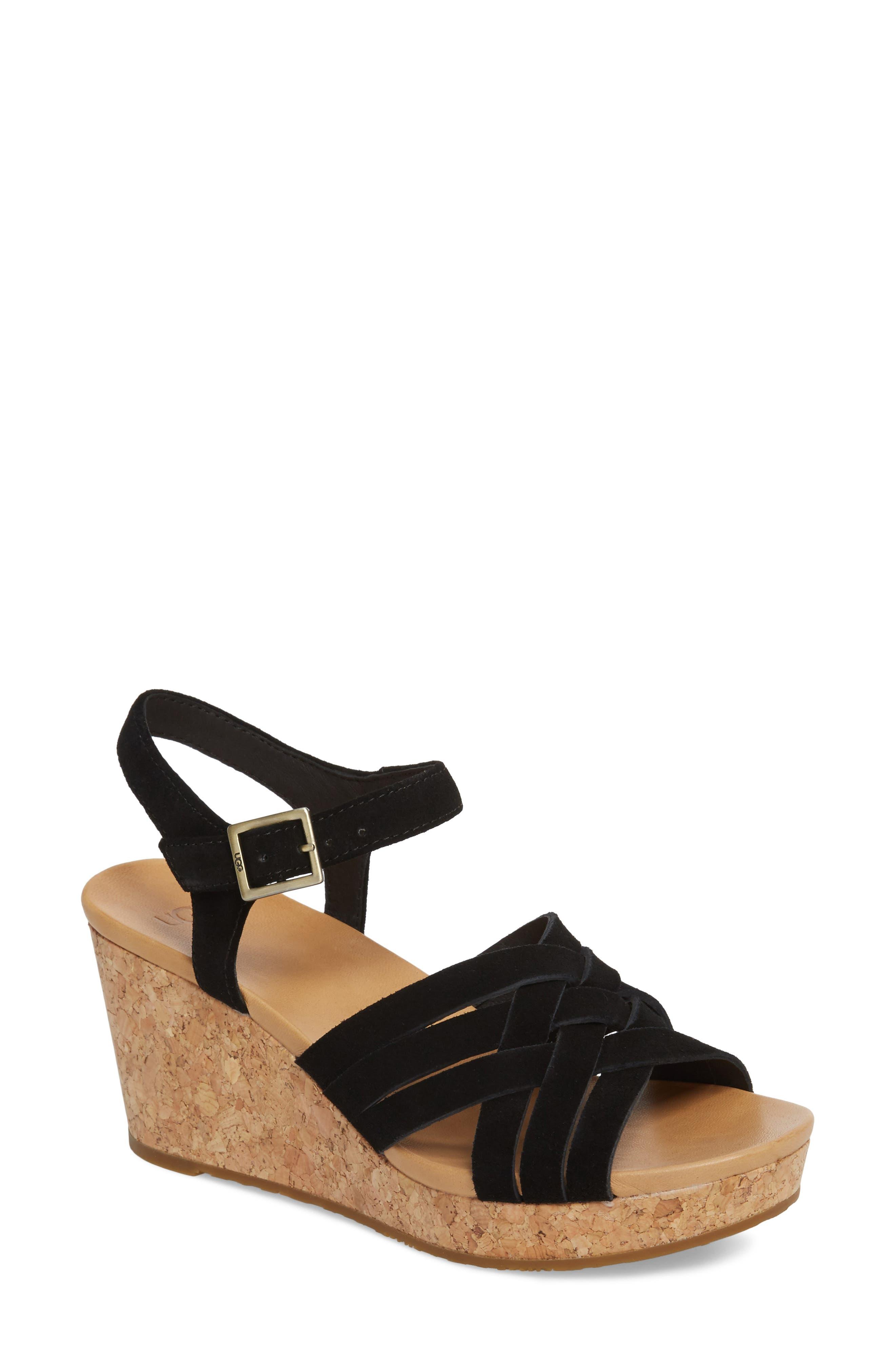 Uma Wedge Sandal,                             Main thumbnail 1, color,                             BLACK SUEDE