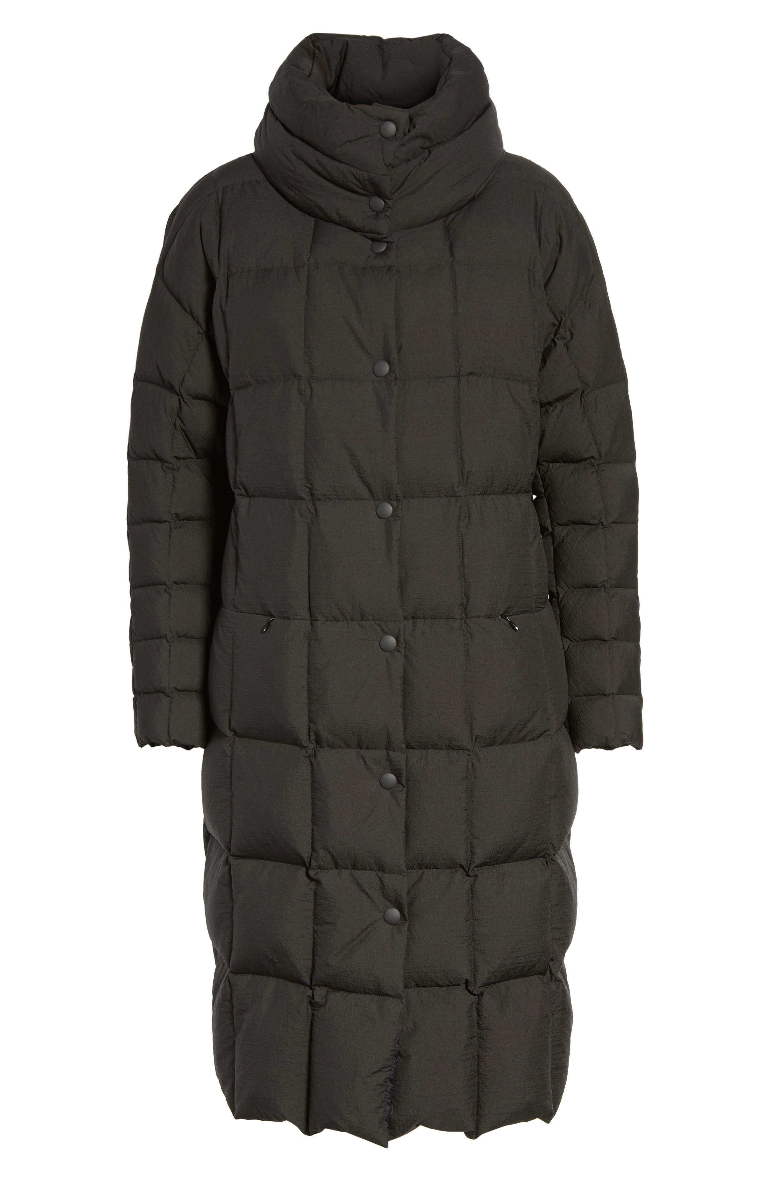 Carley Packable Long Coat,                             Alternate thumbnail 5, color,                             BLACK