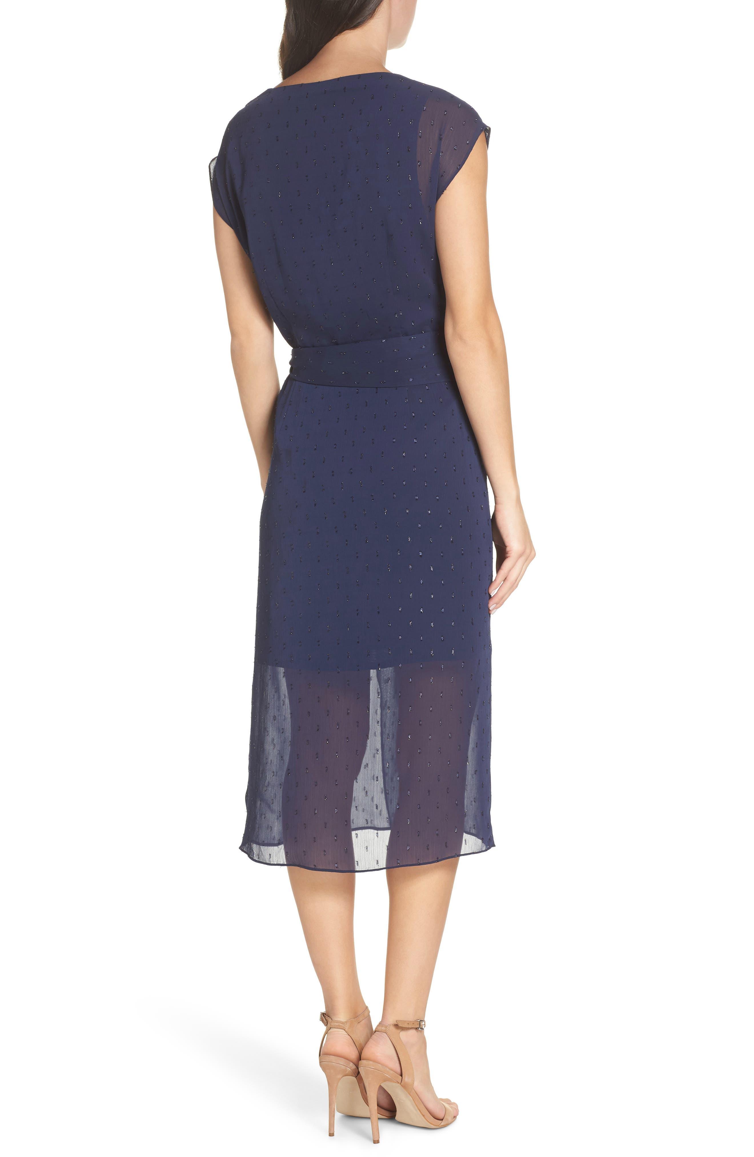 CHELSEA28,                             Fil Coupé Wrap Dress,                             Alternate thumbnail 2, color,                             NAVY SAPPHIRE CLIPDOT