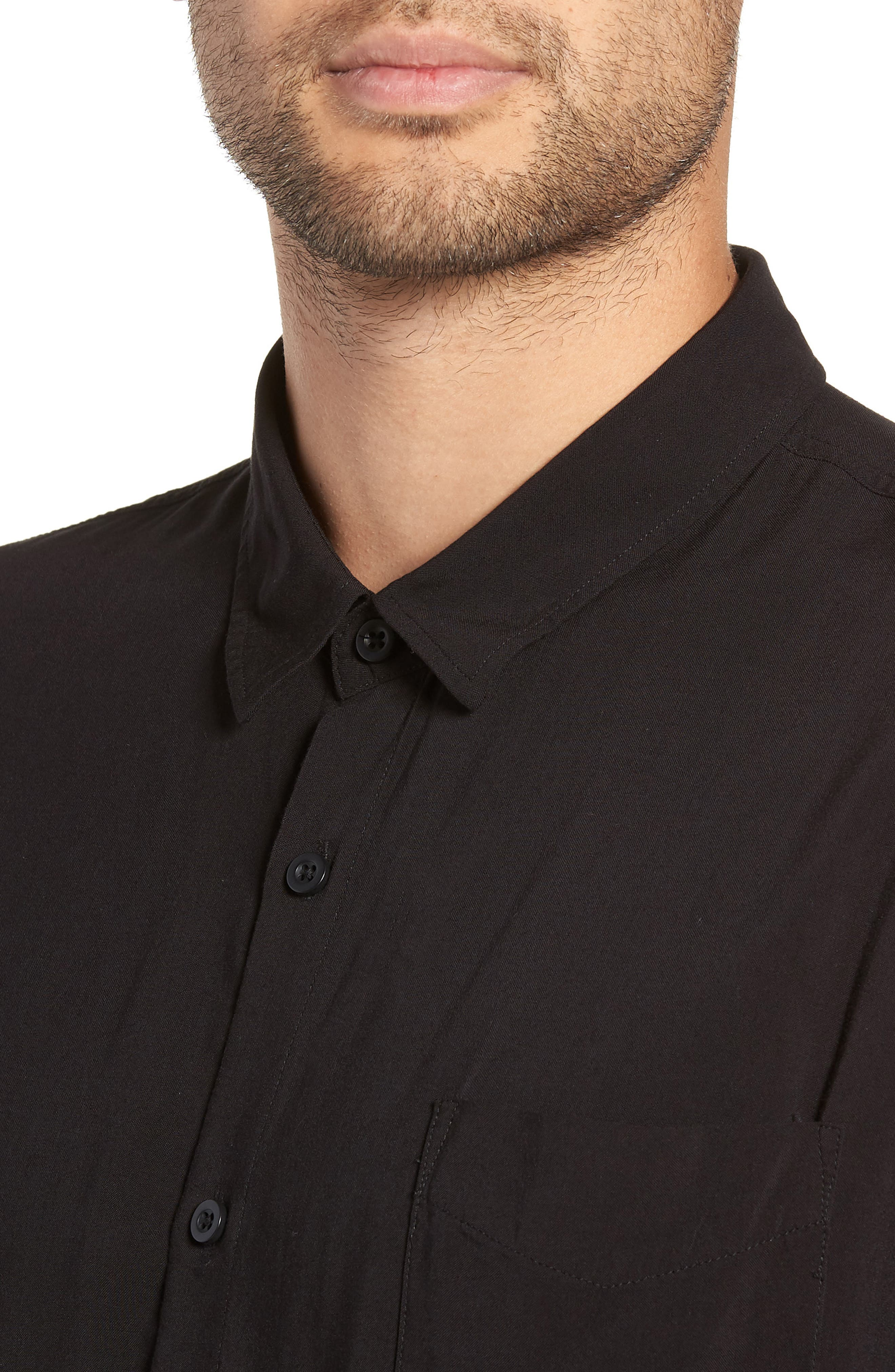 Solid Short Sleeve Shirt,                             Alternate thumbnail 2, color,                             BLACK