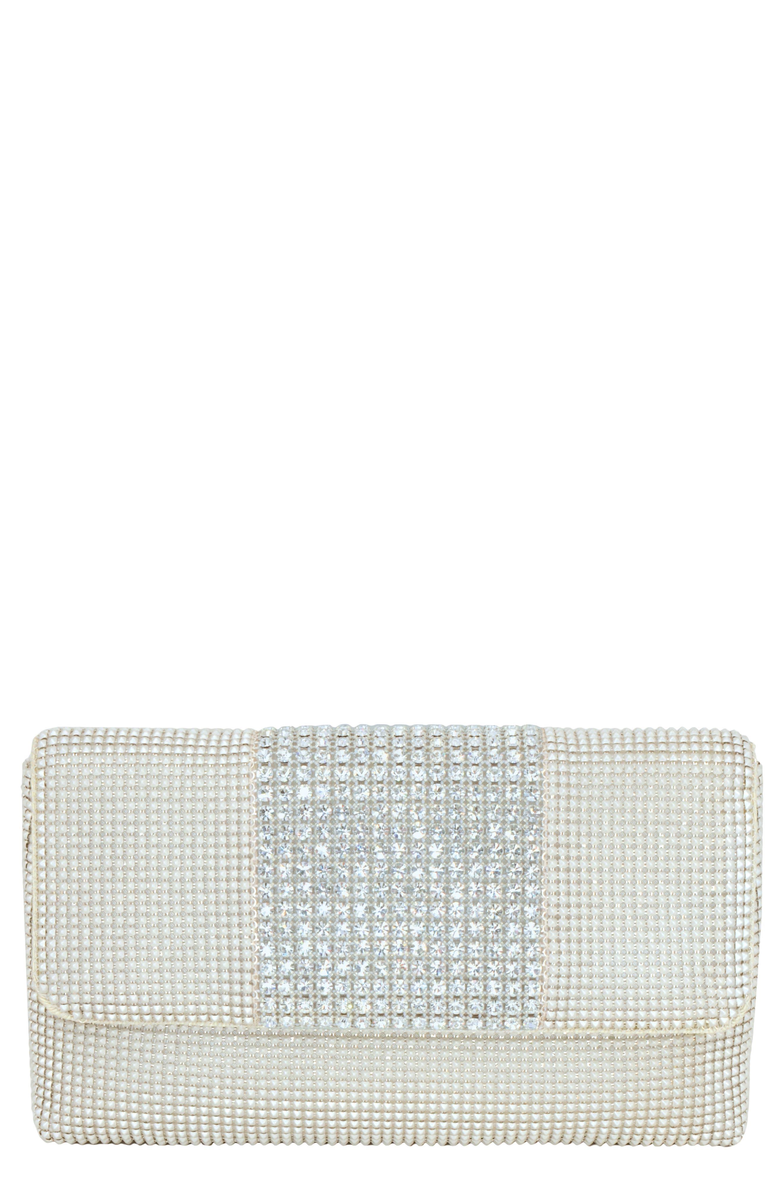 WHITING & DAVIS Rhinestone Stripe Metallic Mesh Flap Clutch - Ivory in Pearl