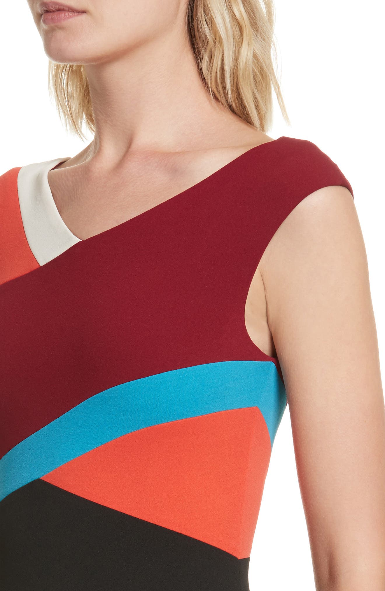 Colorblock Surplice Dress,                             Alternate thumbnail 4, color,                             498