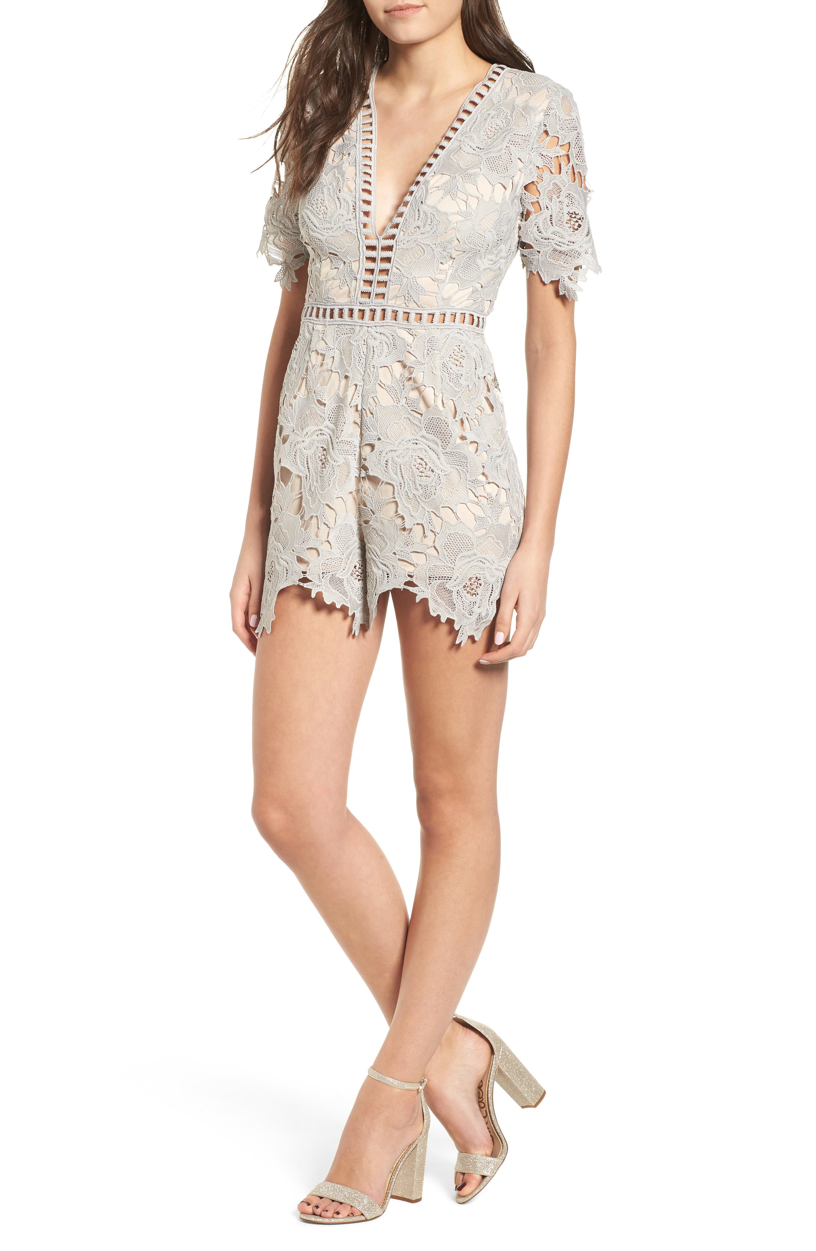 Short Sleeve V-Neck Lace Romper,                             Main thumbnail 1, color,                             LIGHT GREY