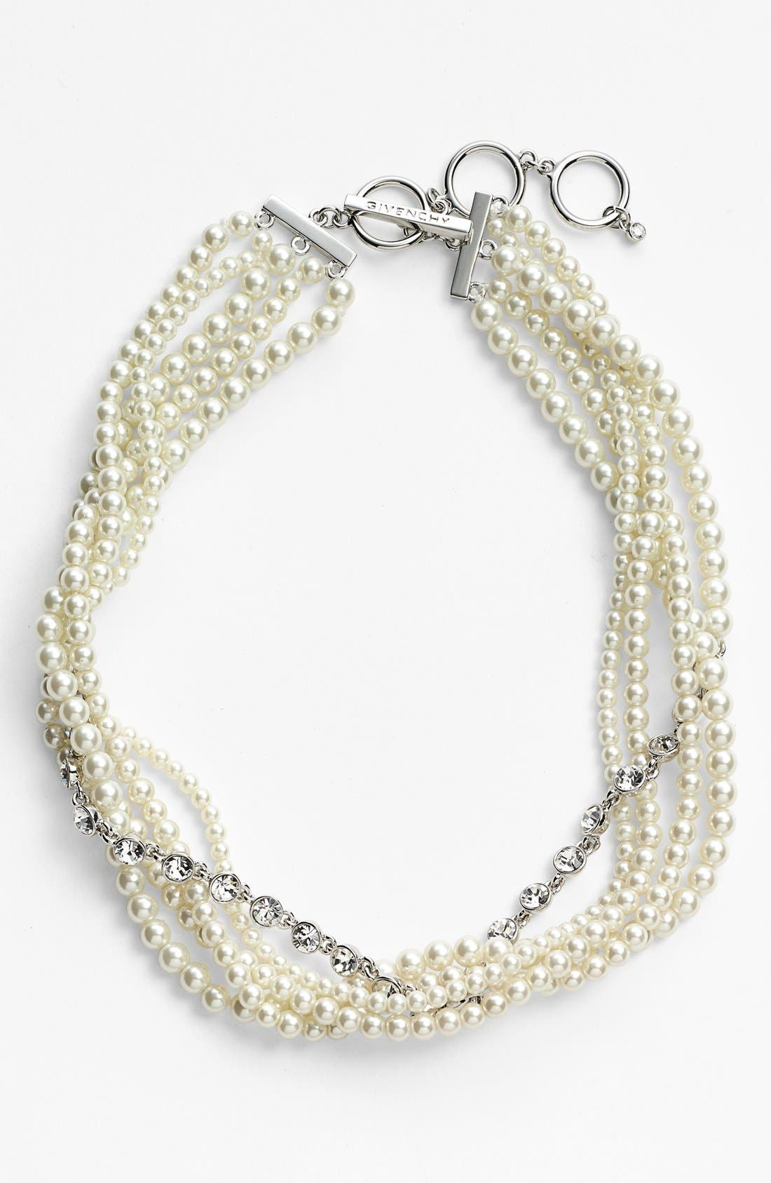 GIVENCHY,                             Faux Pearl & Crystal Torsade Necklace,                             Alternate thumbnail 2, color,                             100