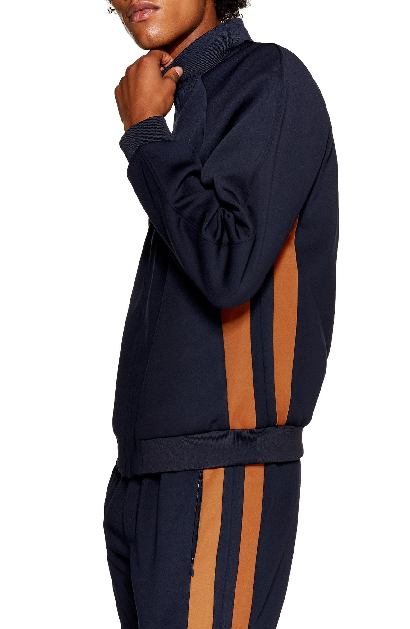 Domino Revere Zip Jacket,                             Alternate thumbnail 4, color,                             NAVY BLUE