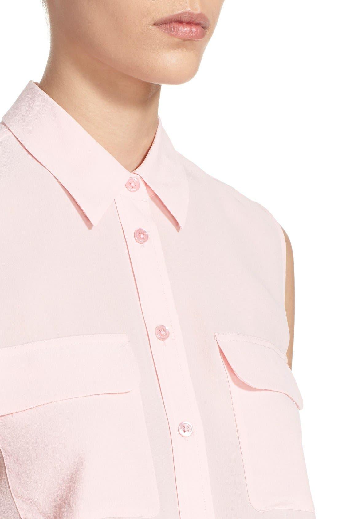 'Slim Signature' Sleeveless Silk Shirt,                             Alternate thumbnail 137, color,