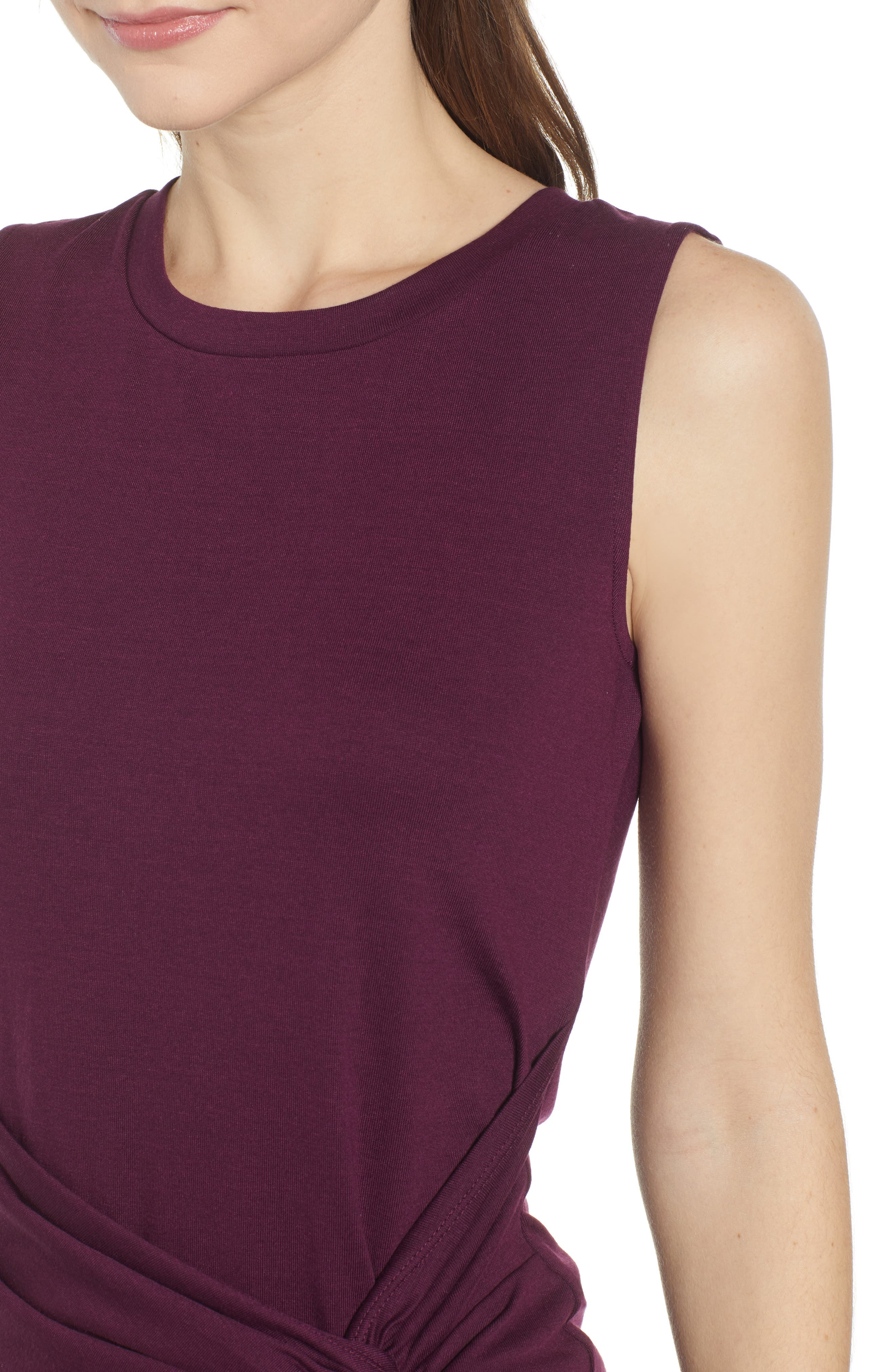 Twist Front Dress,                             Alternate thumbnail 4, color,                             PURPLE POTENT