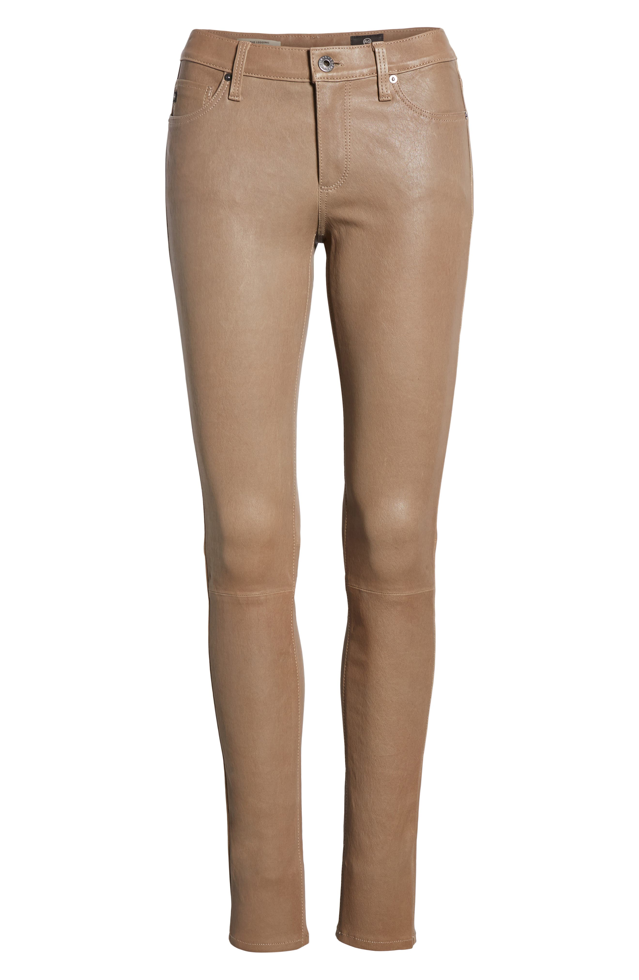 The Legging Super Skinny Leather Pants,                             Alternate thumbnail 7, color,                             RUSTIC TAUPE