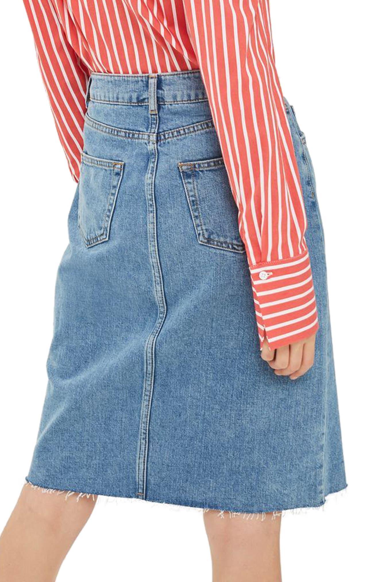 Zip Denim Skirt,                             Alternate thumbnail 2, color,                             400