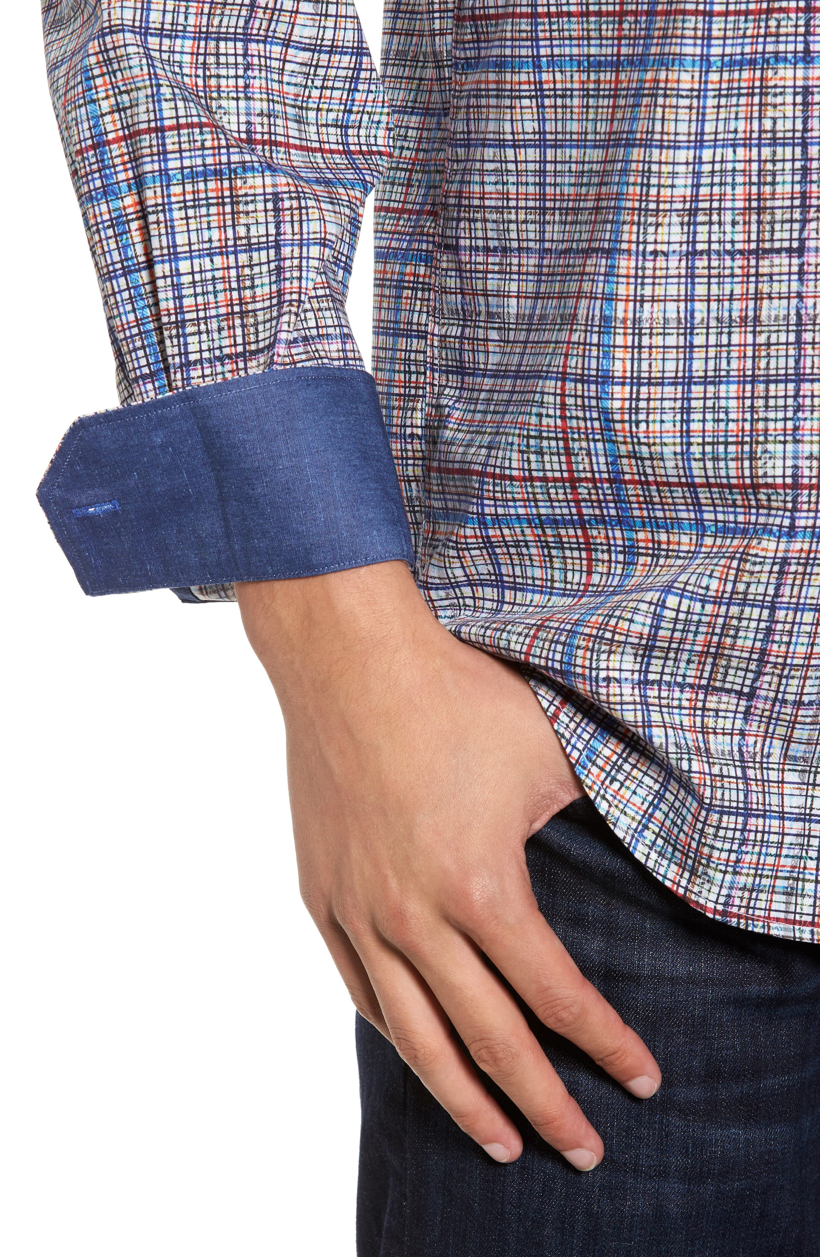 Classic Fit Abstract Plaid Sport Shirt,                             Alternate thumbnail 4, color,