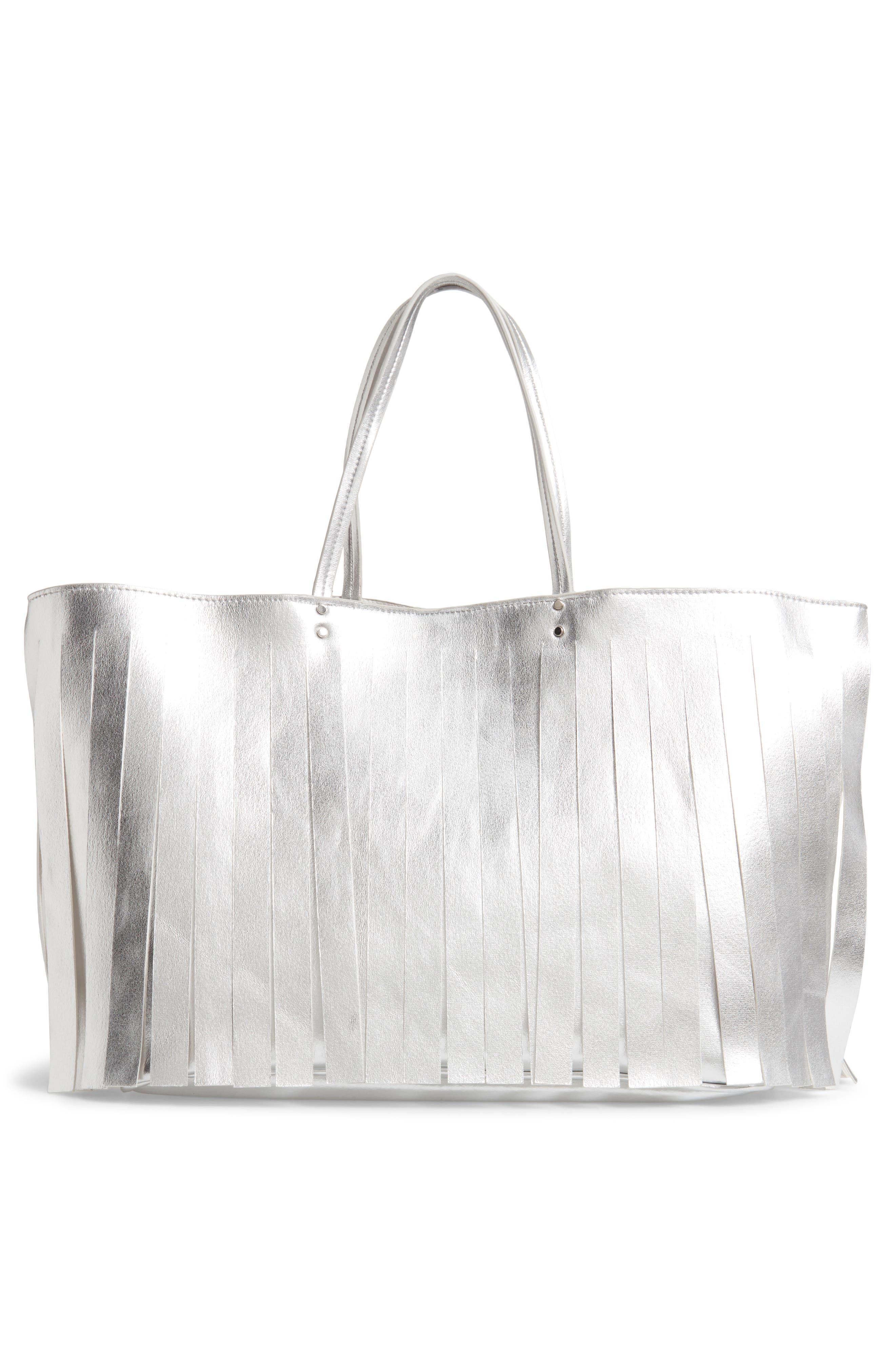 Corrie Fringe Faux Leather Tote,                             Alternate thumbnail 3, color,                             SILVER