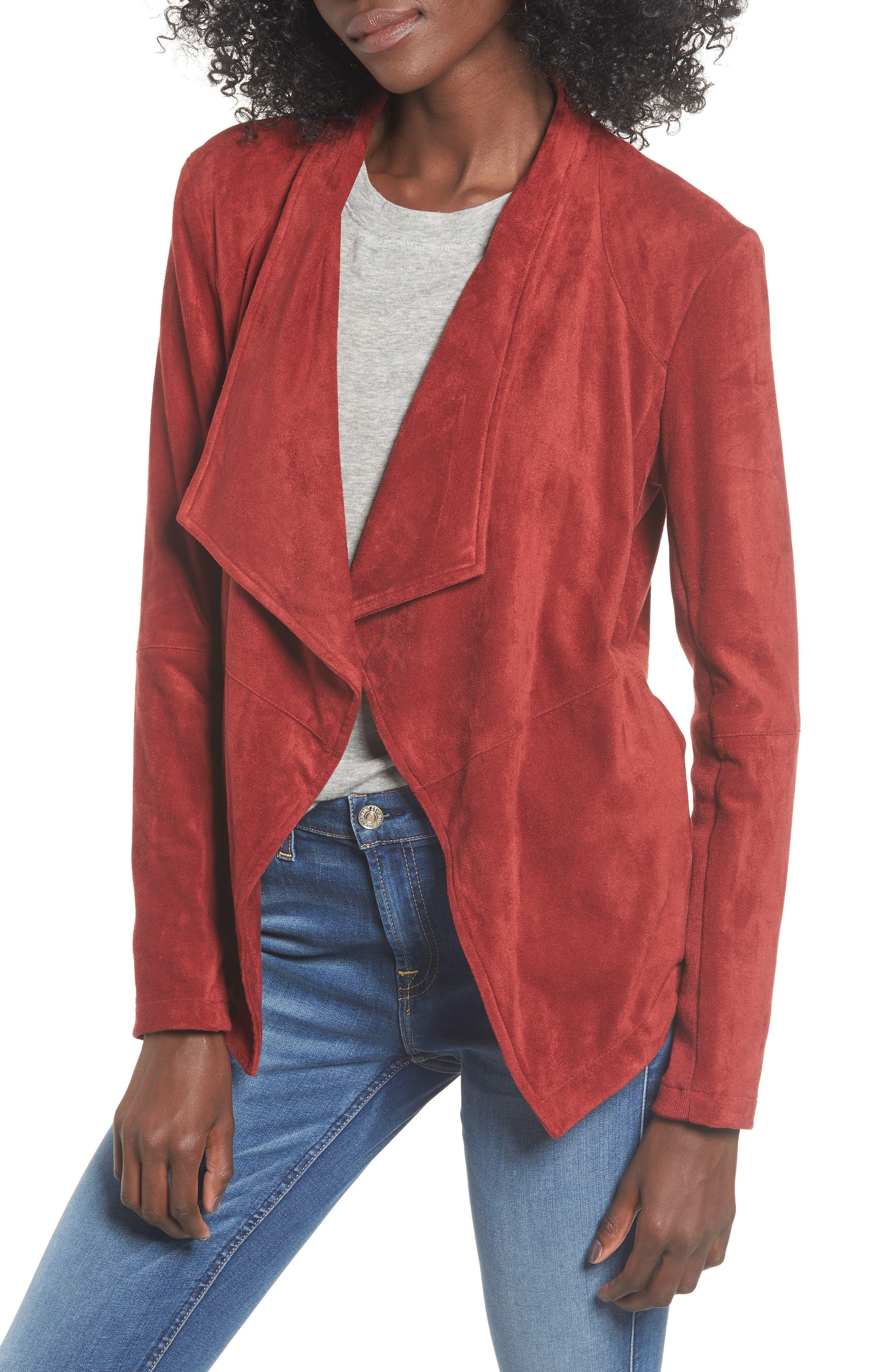 BB DAKOTA,                             Nicholson Faux Suede Drape Front Jacket,                             Main thumbnail 1, color,                             BRICK RED