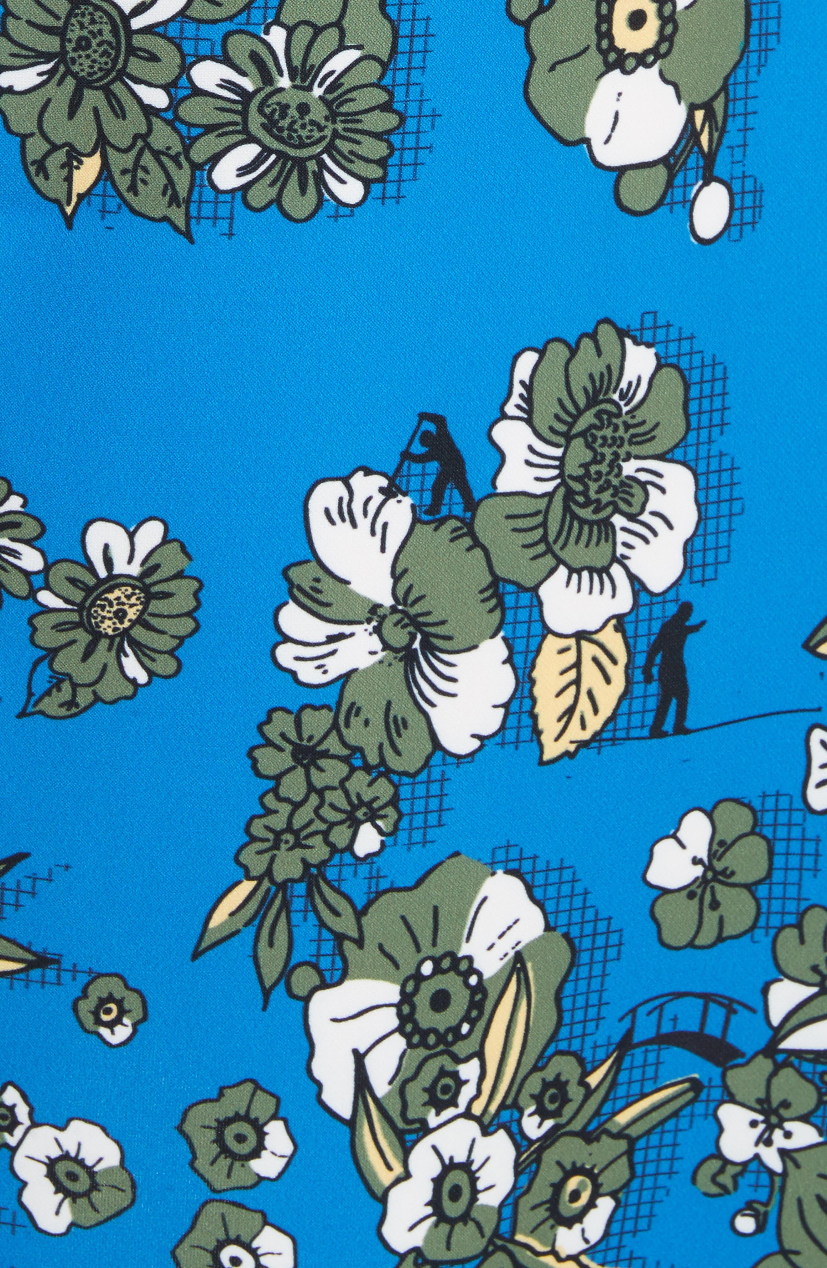 Colorblock Floral Shift Dress,                             Alternate thumbnail 5, color,                             402
