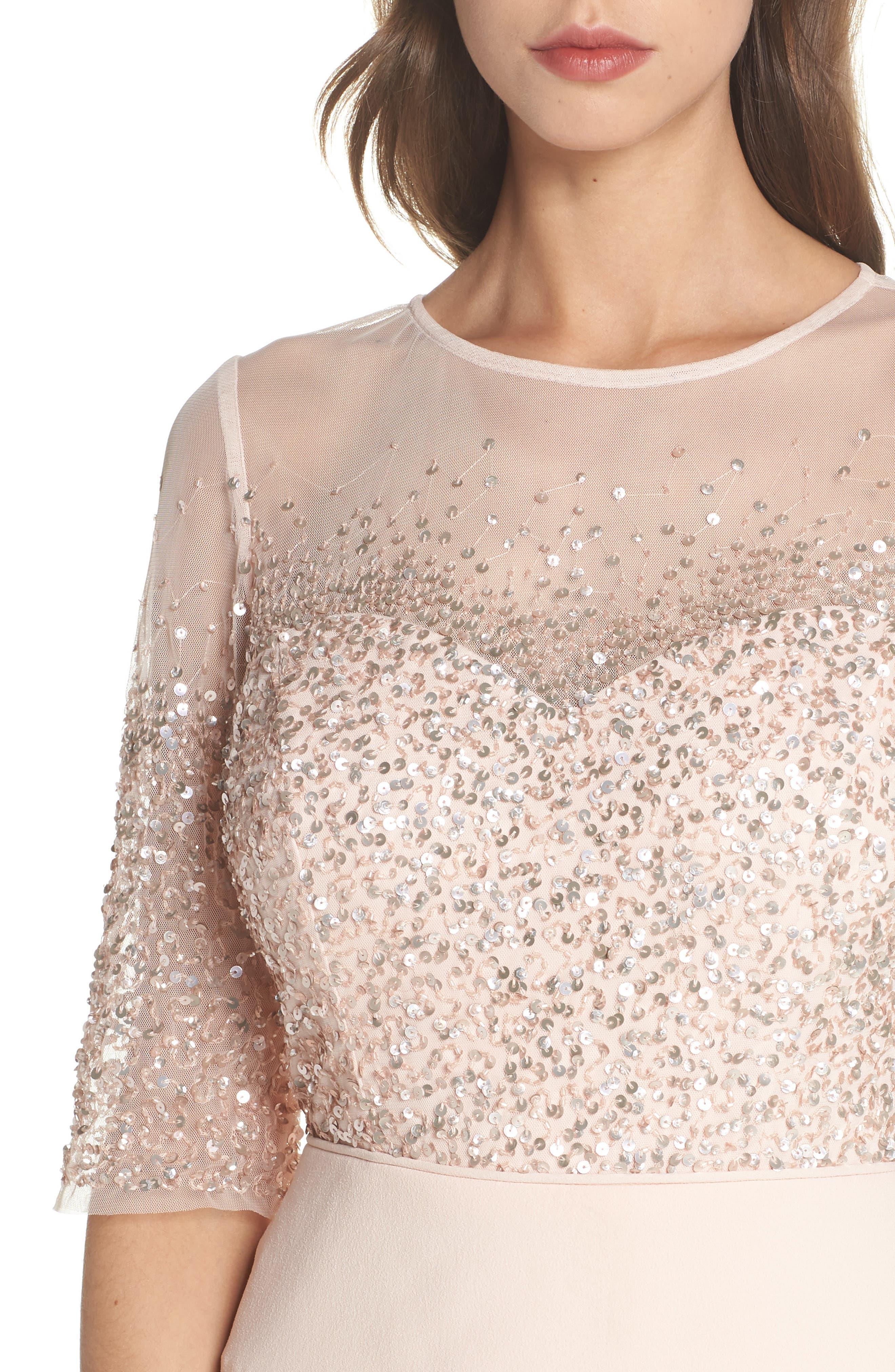 Beaded Illusion Tiered Sheath Dress,                             Alternate thumbnail 4, color,                             BLUSH