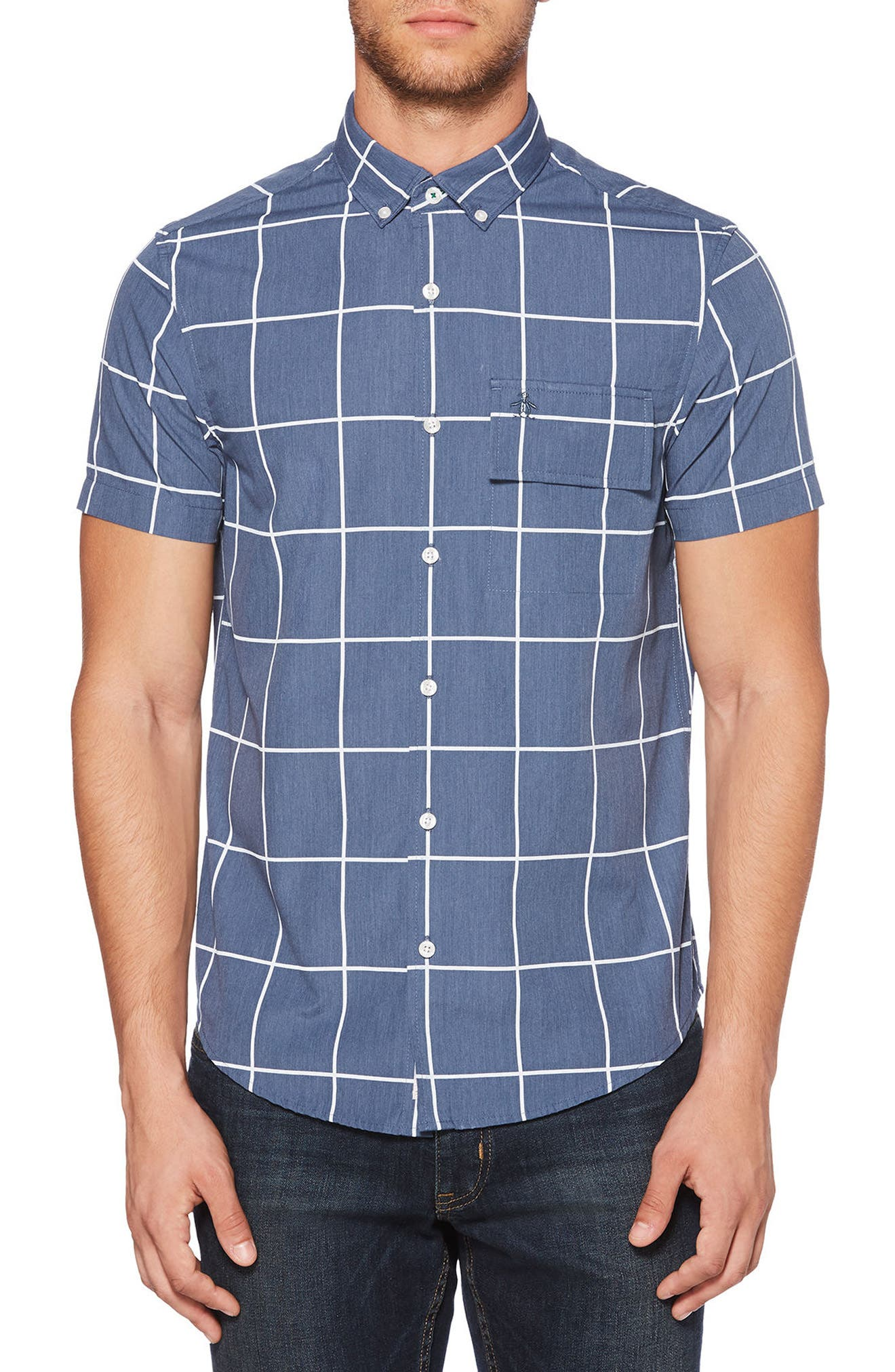Windowpane Woven Shirt,                             Main thumbnail 1, color,                             425