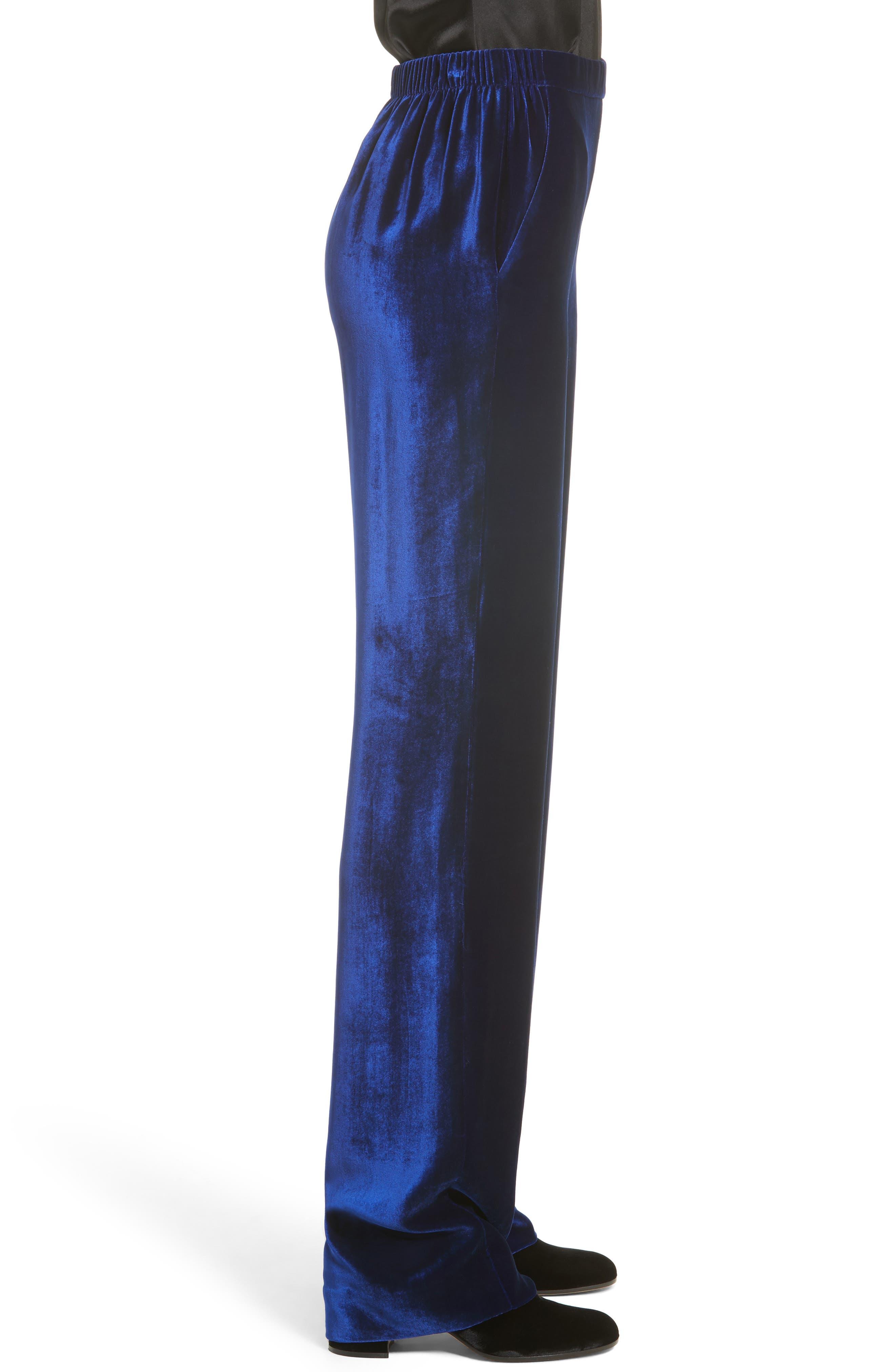 Velvet Wide Leg Pants,                             Alternate thumbnail 3, color,                             430