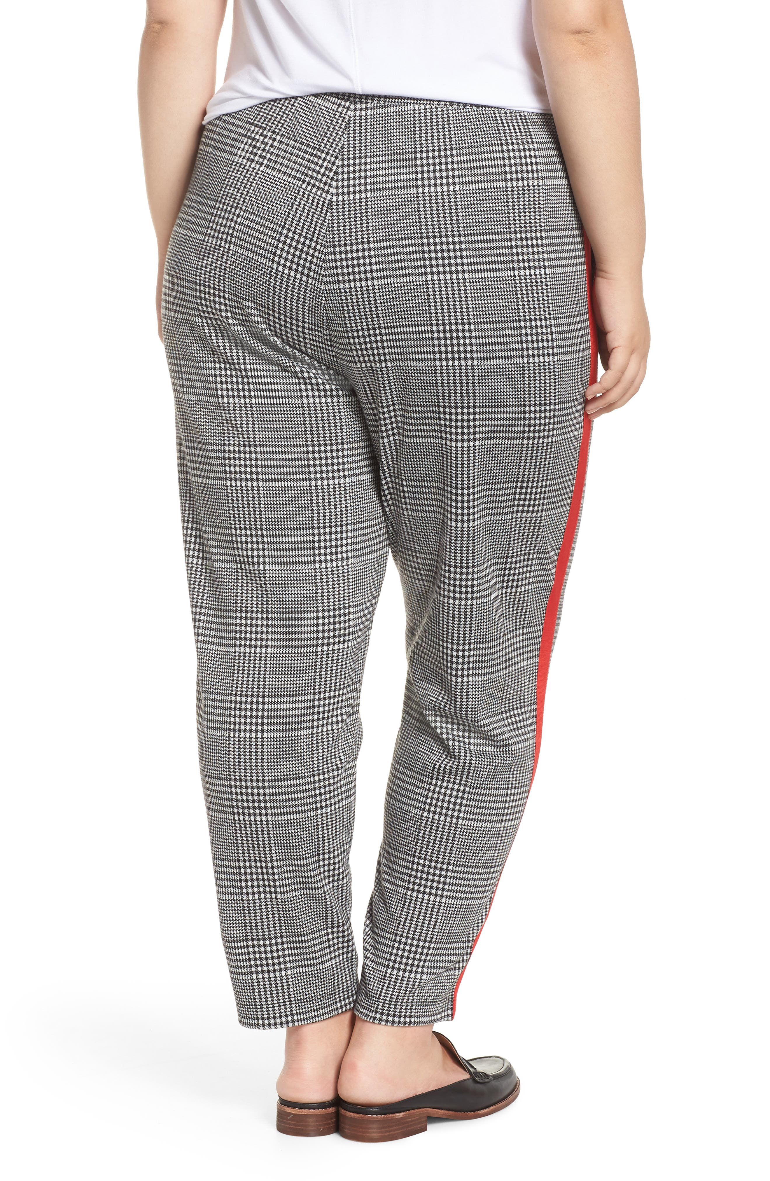 Side Stripe Glen Plaid Pants,                             Alternate thumbnail 2, color,                             BLACK GLEN CHECK