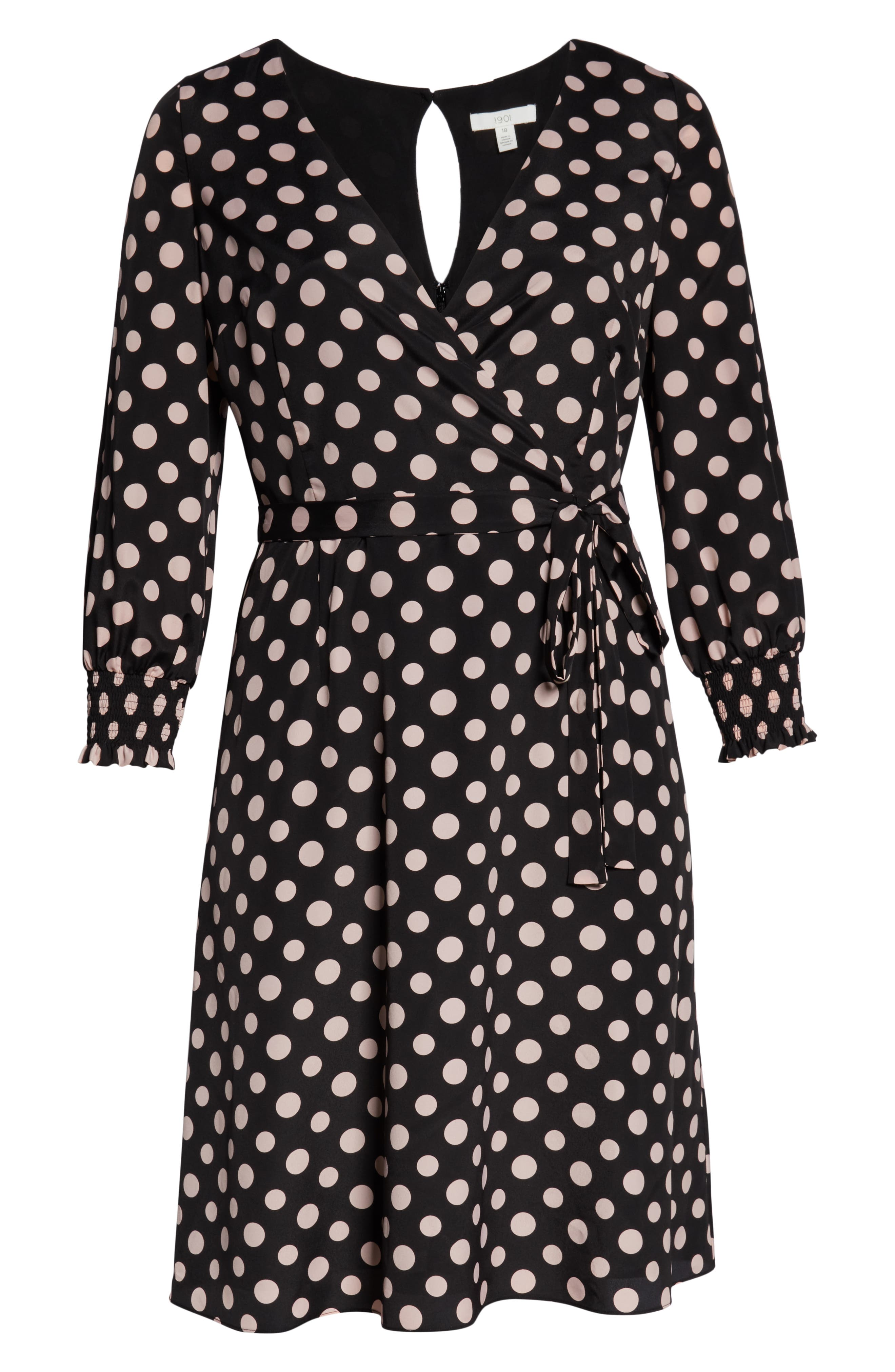 1901,                             Smocked Cuff Faux Wrap Dress,                             Alternate thumbnail 7, color,                             BLACK
