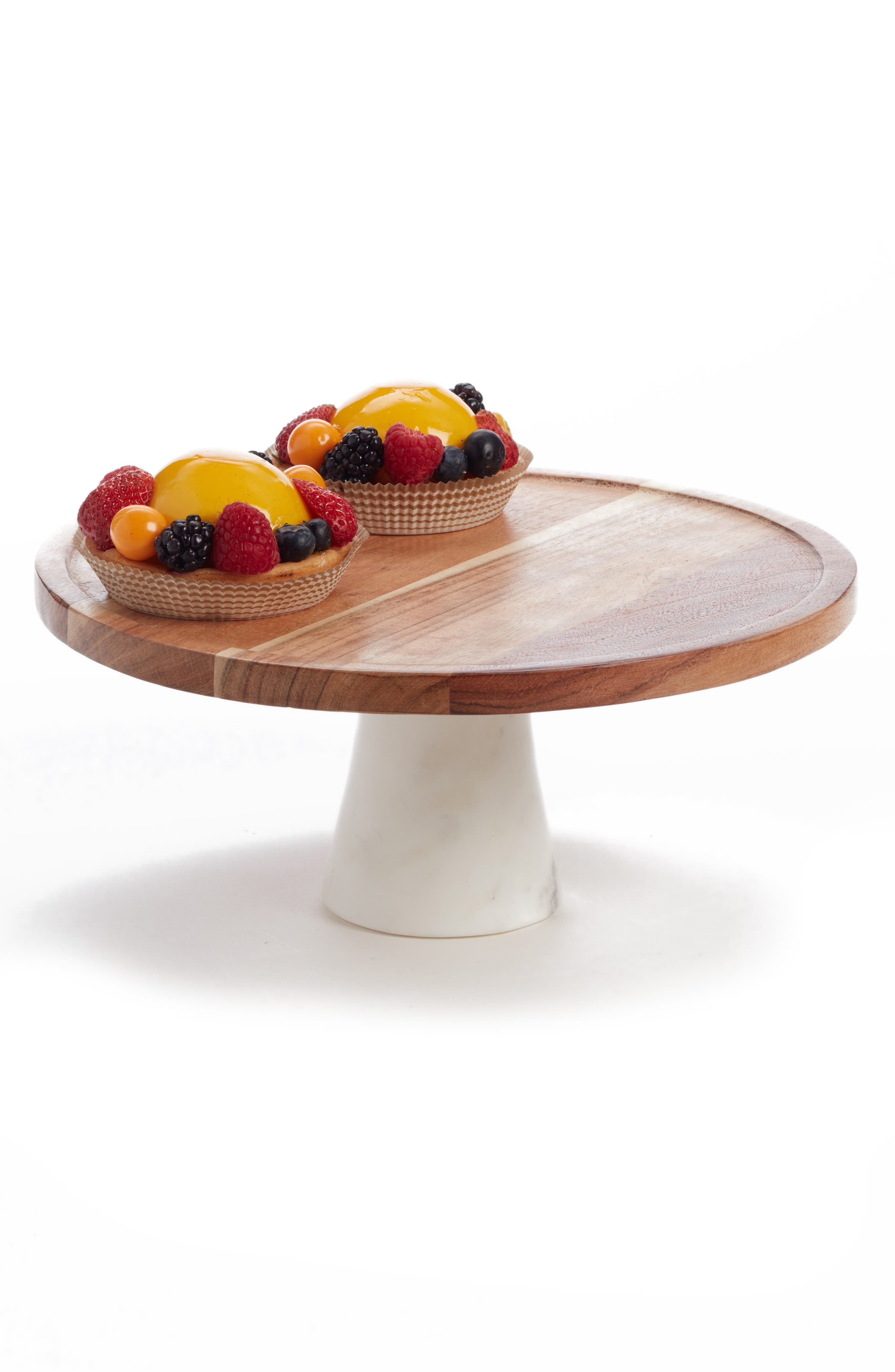 Wood & Marble Cake Stand,                             Main thumbnail 1, color,                             200