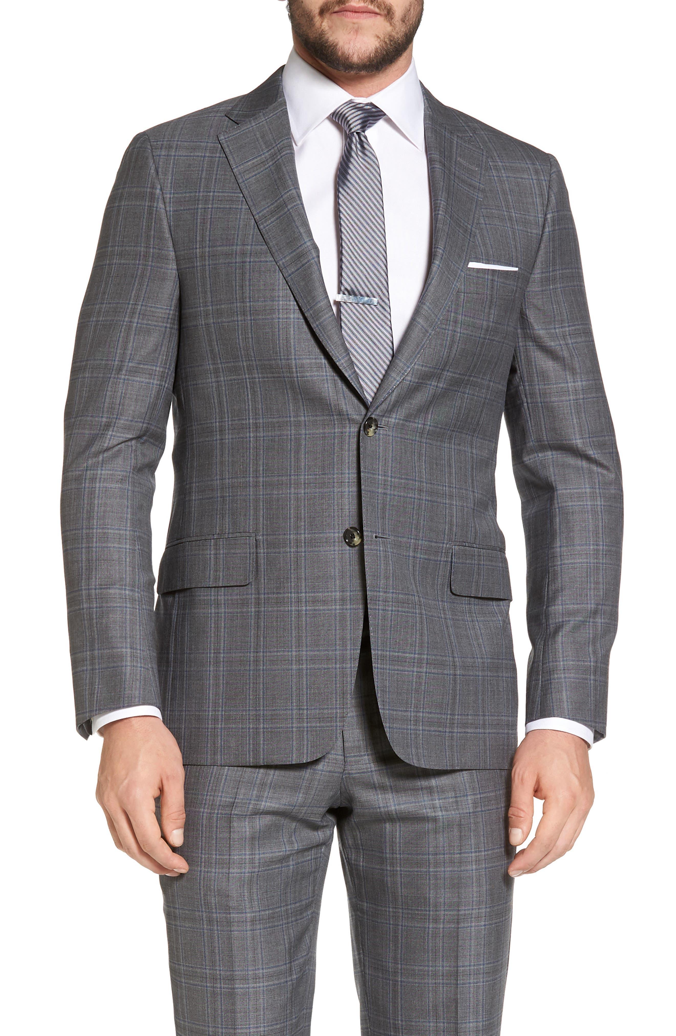 Classic B Fit Plaid Wool Suit,                             Alternate thumbnail 5, color,                             060