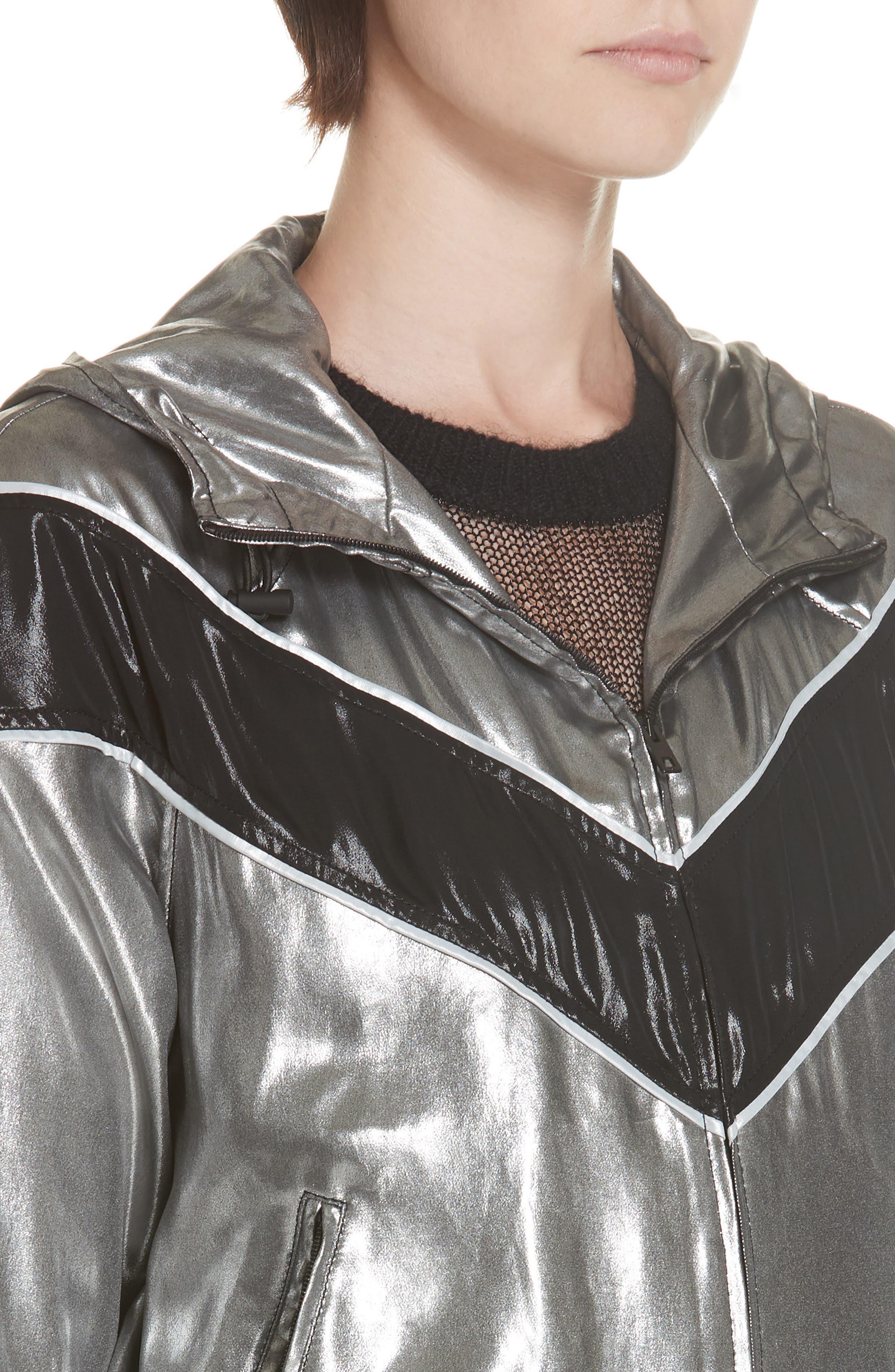 RAG & BONE,                             Sloane Metallic Track Jacket,                             Alternate thumbnail 5, color,                             SILVER/ BLACK