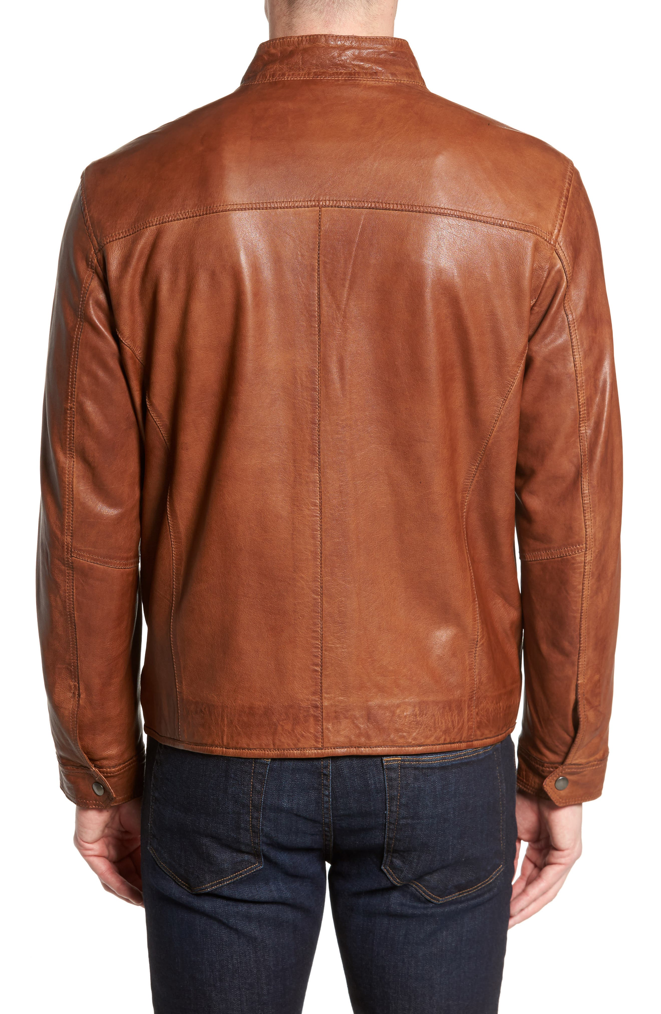 Zip Leather Jacket,                             Alternate thumbnail 2, color,                             210