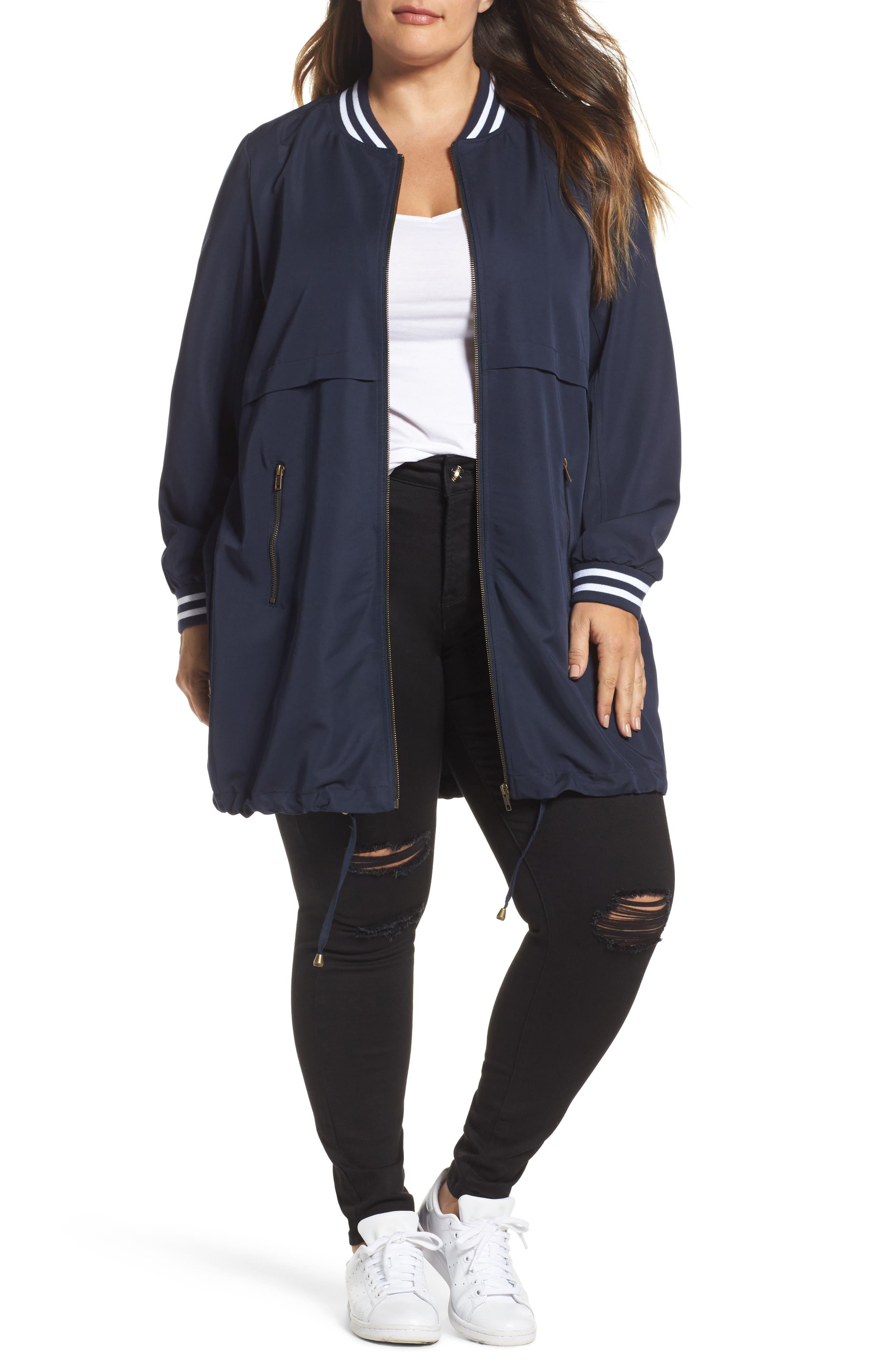 Juliane Tunic Length Bomber Jacket,                         Main,                         color,