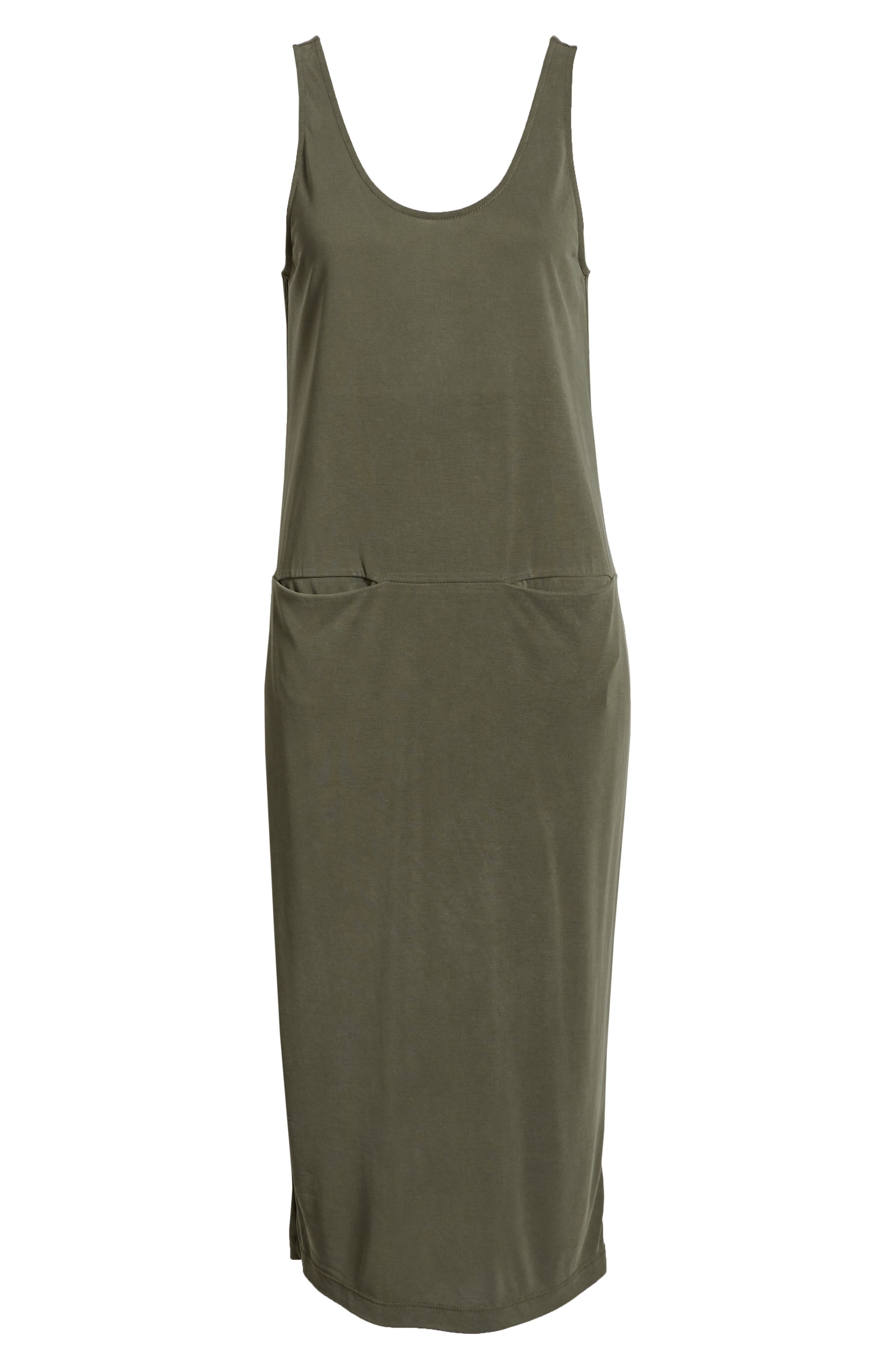 Tank Midi Dress,                             Alternate thumbnail 7, color,                             OLIVE BURNT
