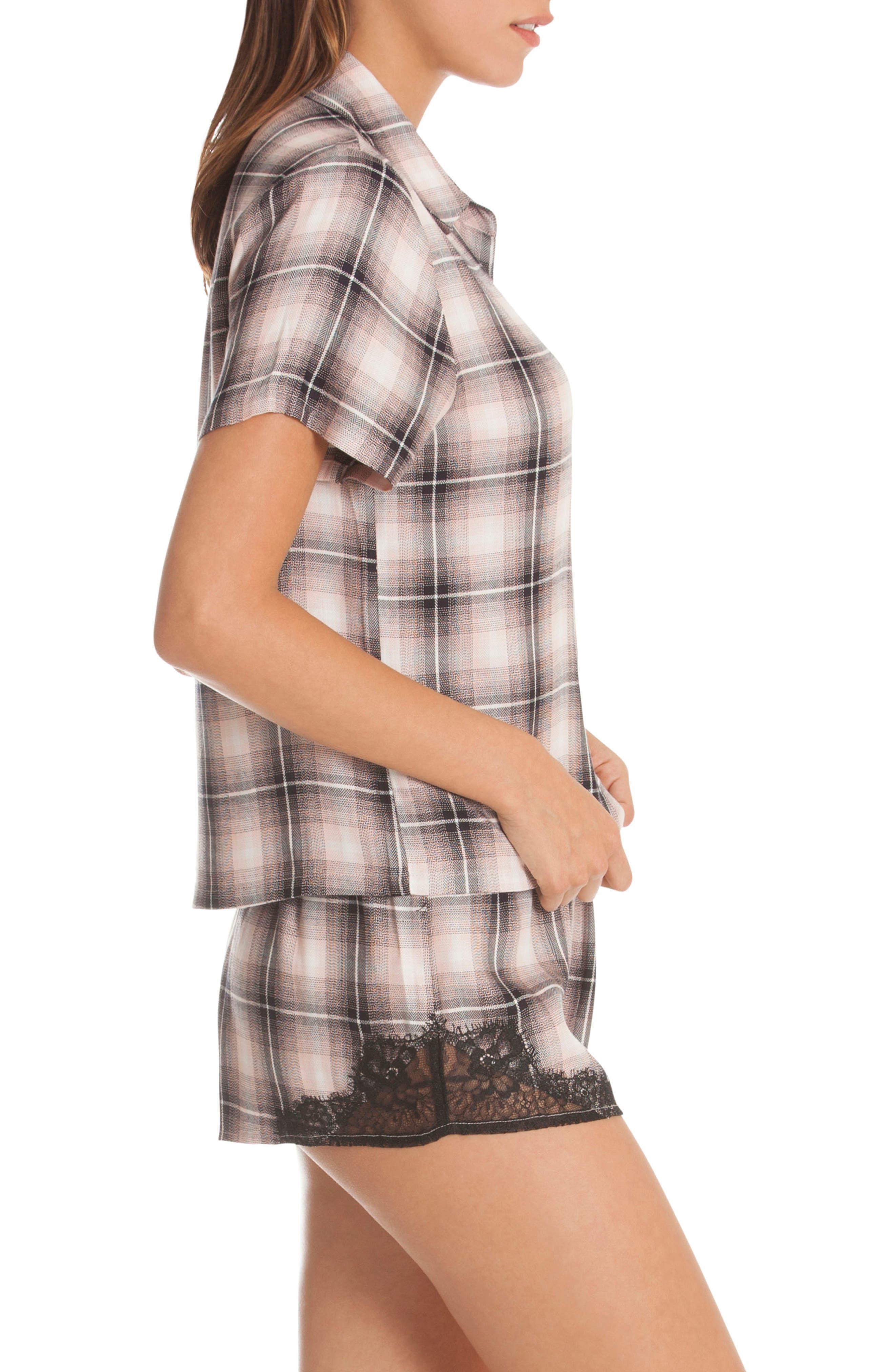 Plaid Lace Pajamas,                             Alternate thumbnail 3, color,                             650