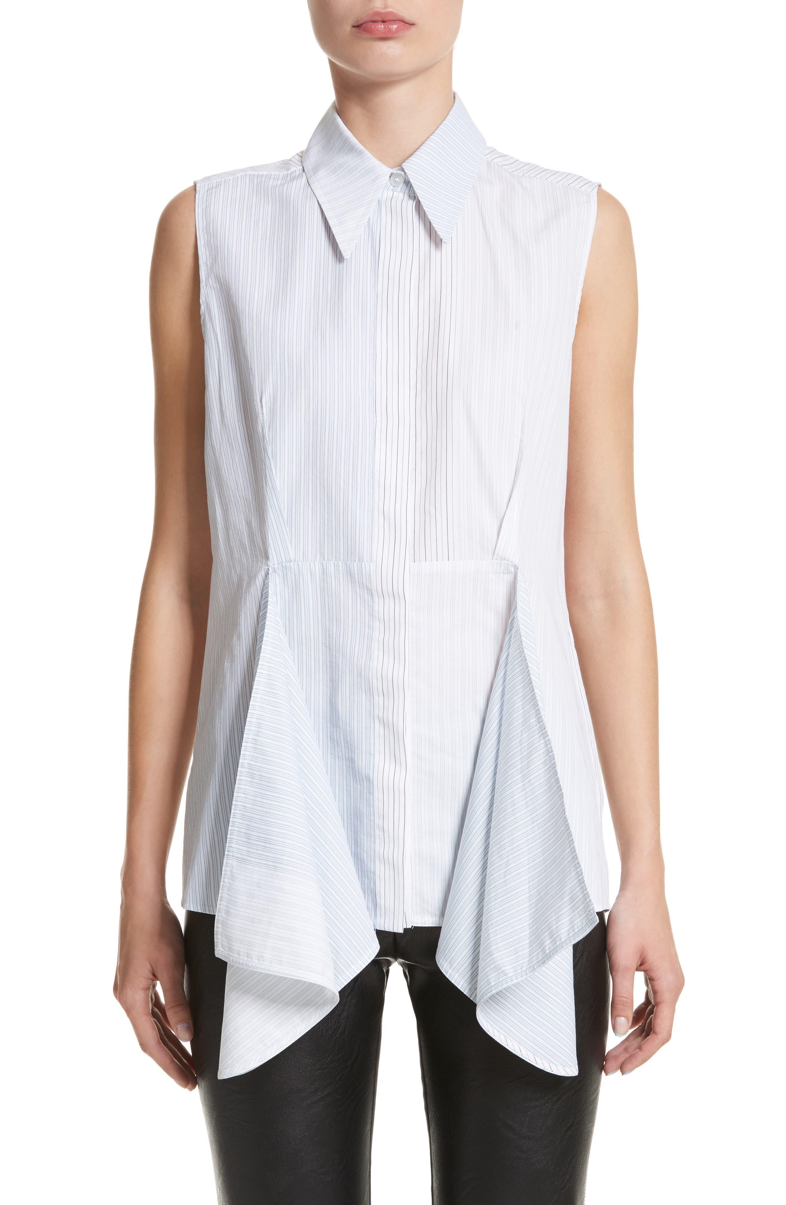 Ruffle Peplum Cotton & Silk Top,                         Main,                         color, 108
