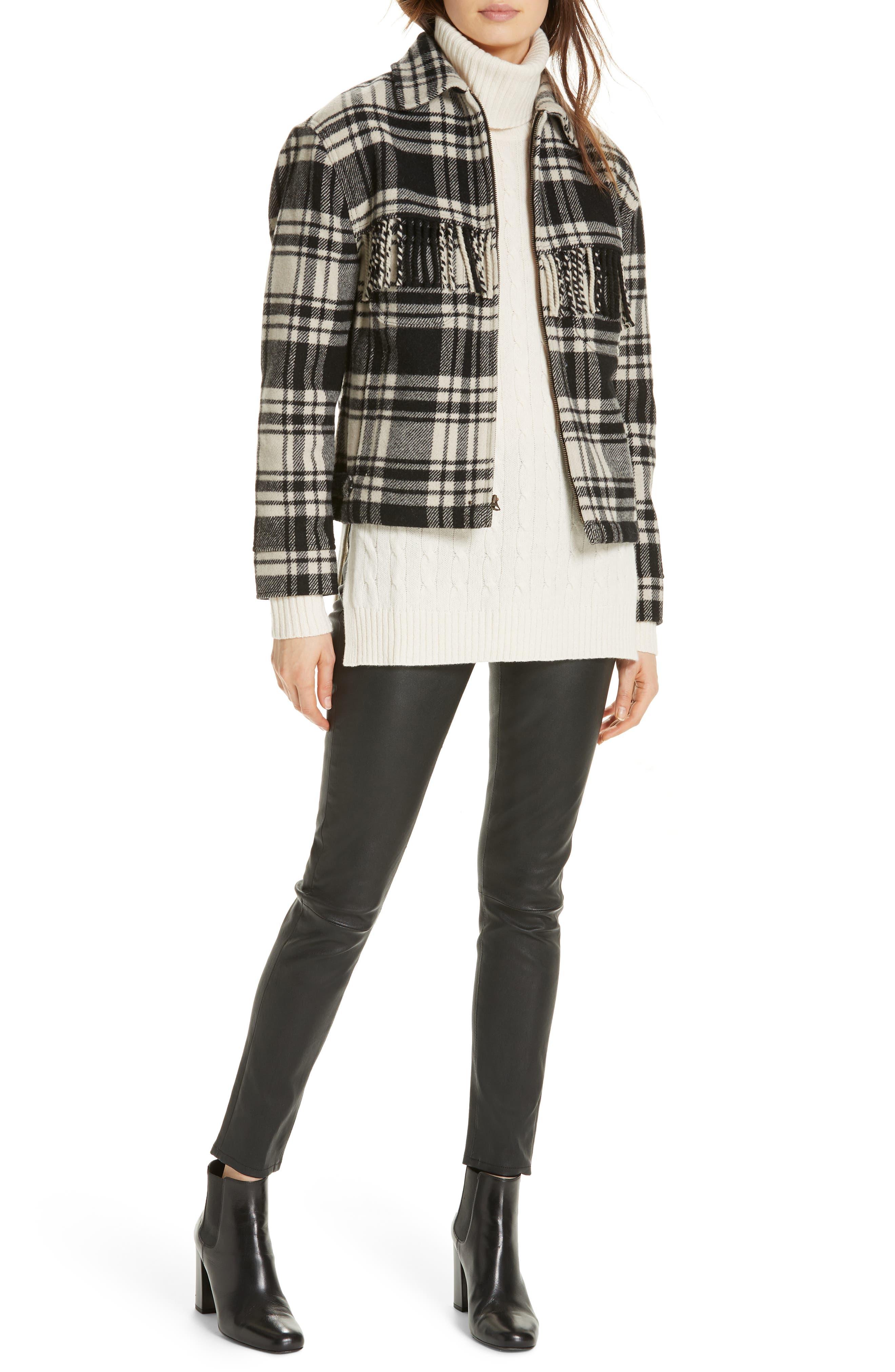 Wool Blend Plaid Jacket,                             Alternate thumbnail 7, color,                             BLACK/ CREAM