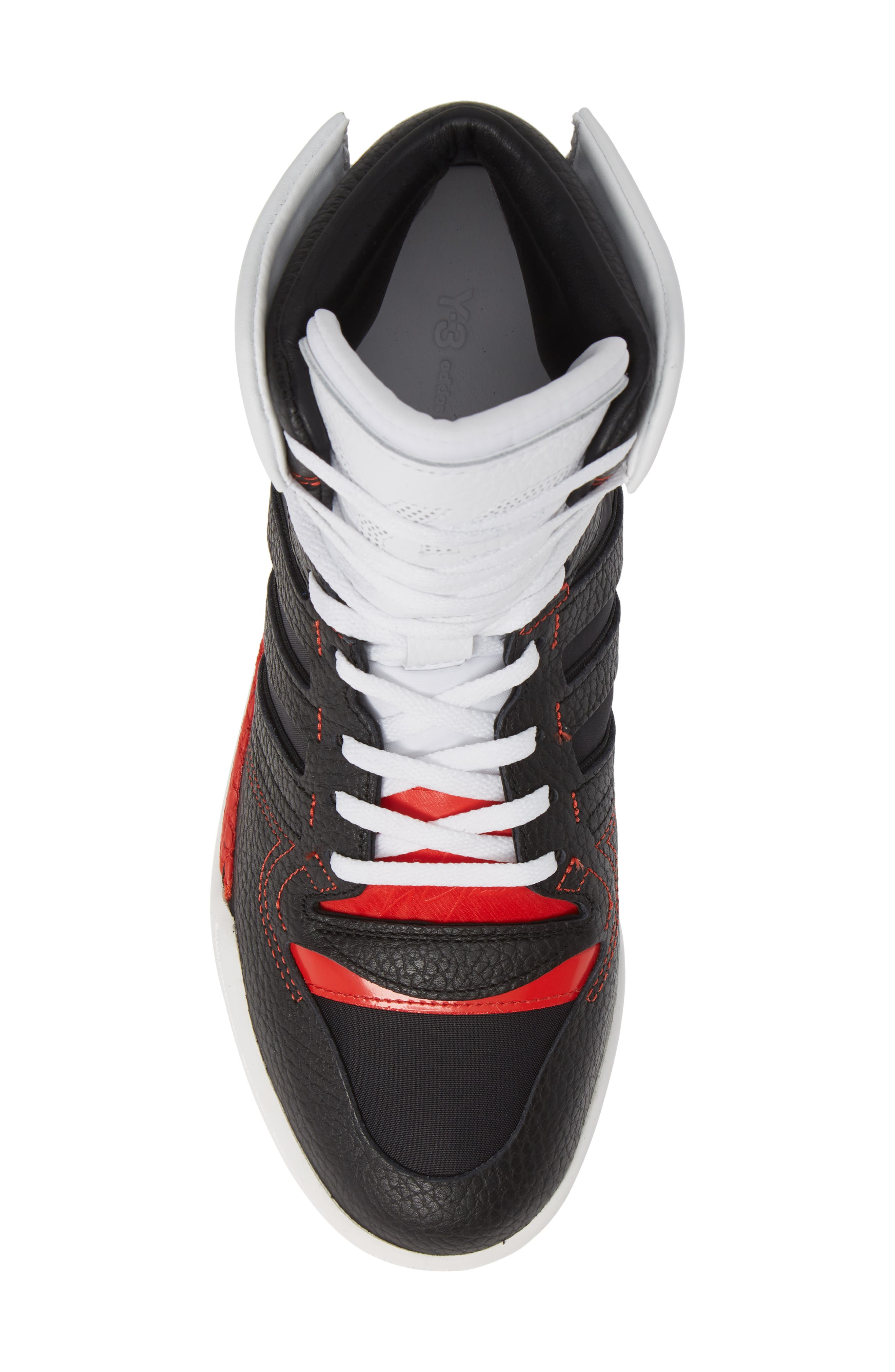 Y-3,                             x adidas Hayworth High Top Sneaker,                             Alternate thumbnail 5, color,                             BLACK/ BLACK/ RED