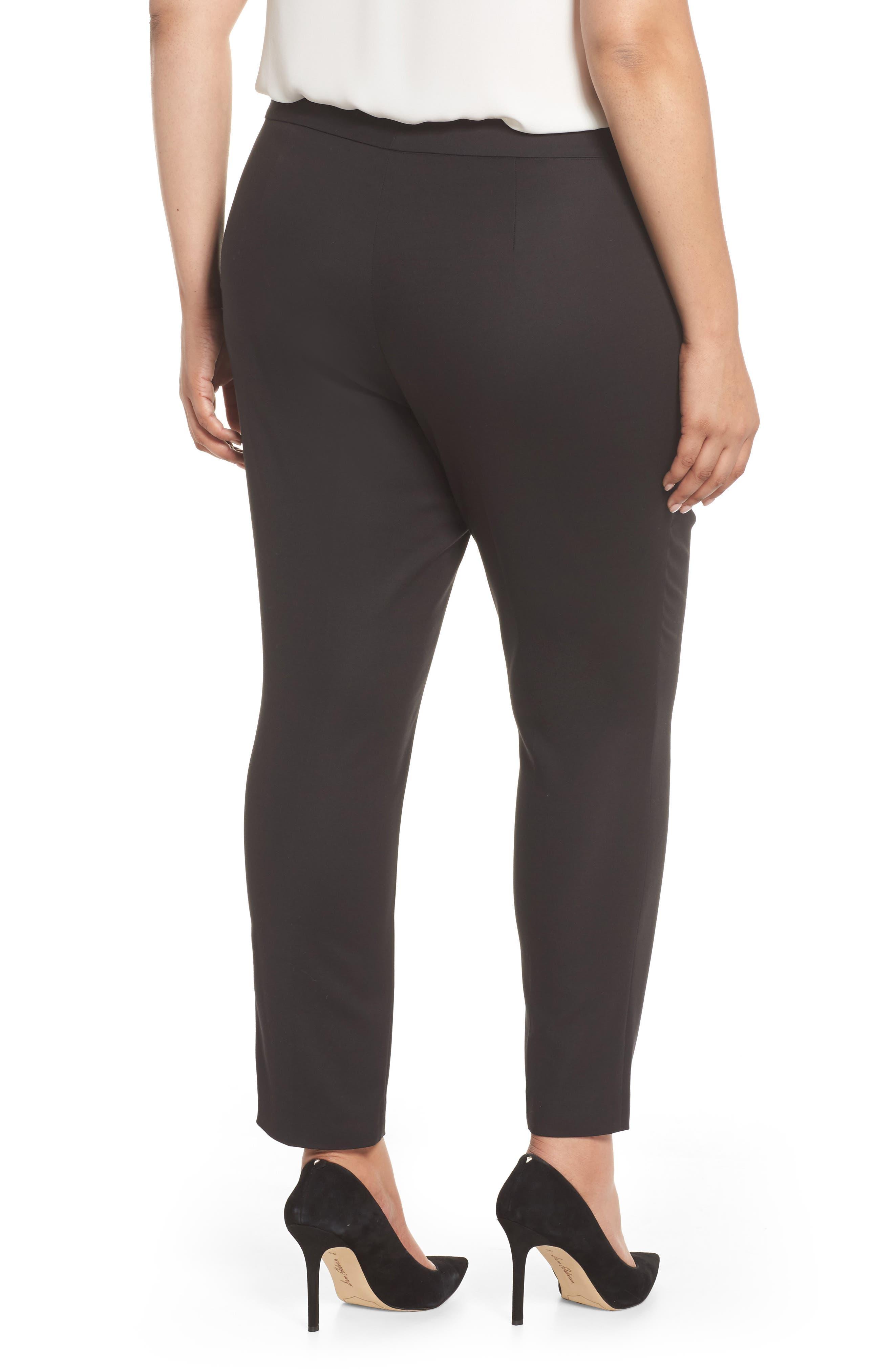 Stretch Cotton Blend Ankle Pants,                             Alternate thumbnail 2, color,                             RICH BLACK