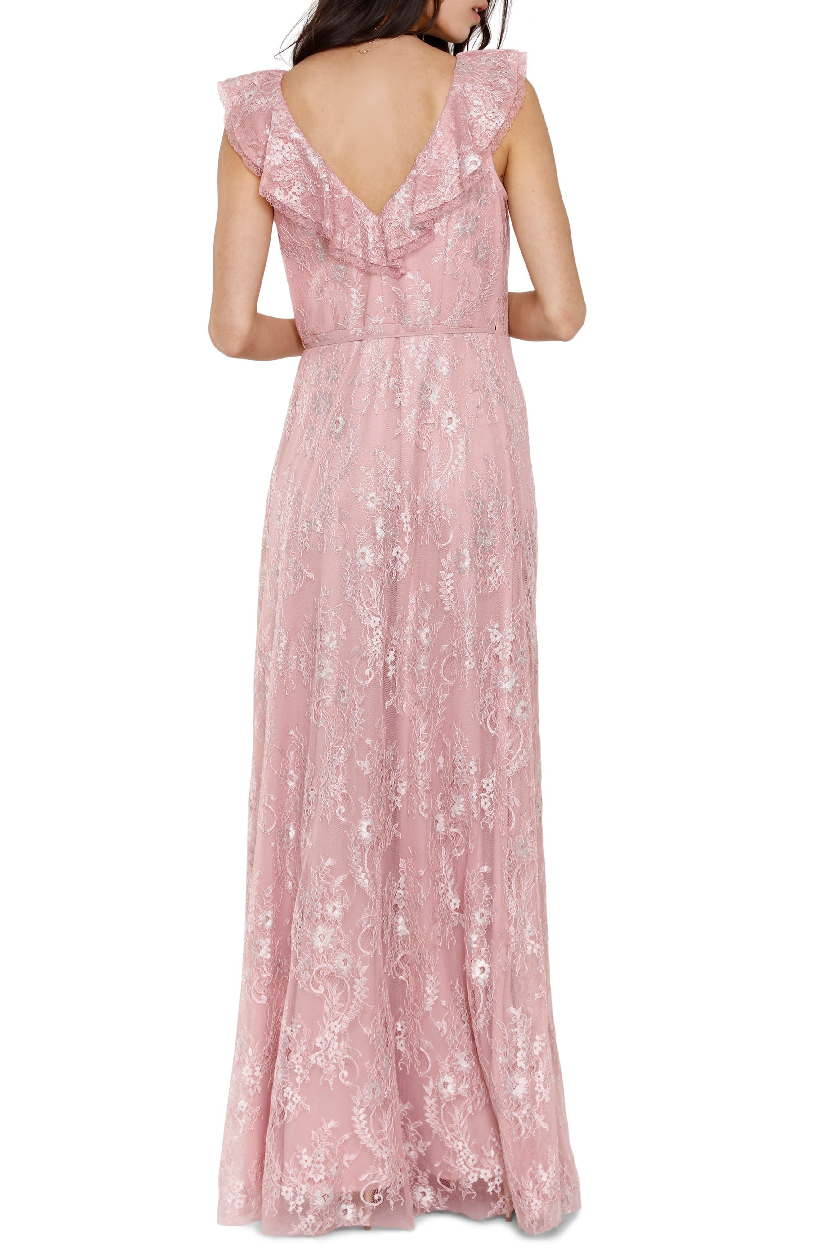 Rio Ruffle Lace Wrap Gown,                             Alternate thumbnail 2, color,                             CALYPSO