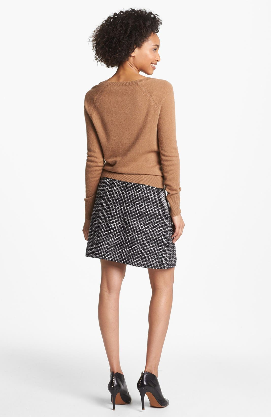 Pleated A-Line Skirt,                             Alternate thumbnail 6, color,                             001