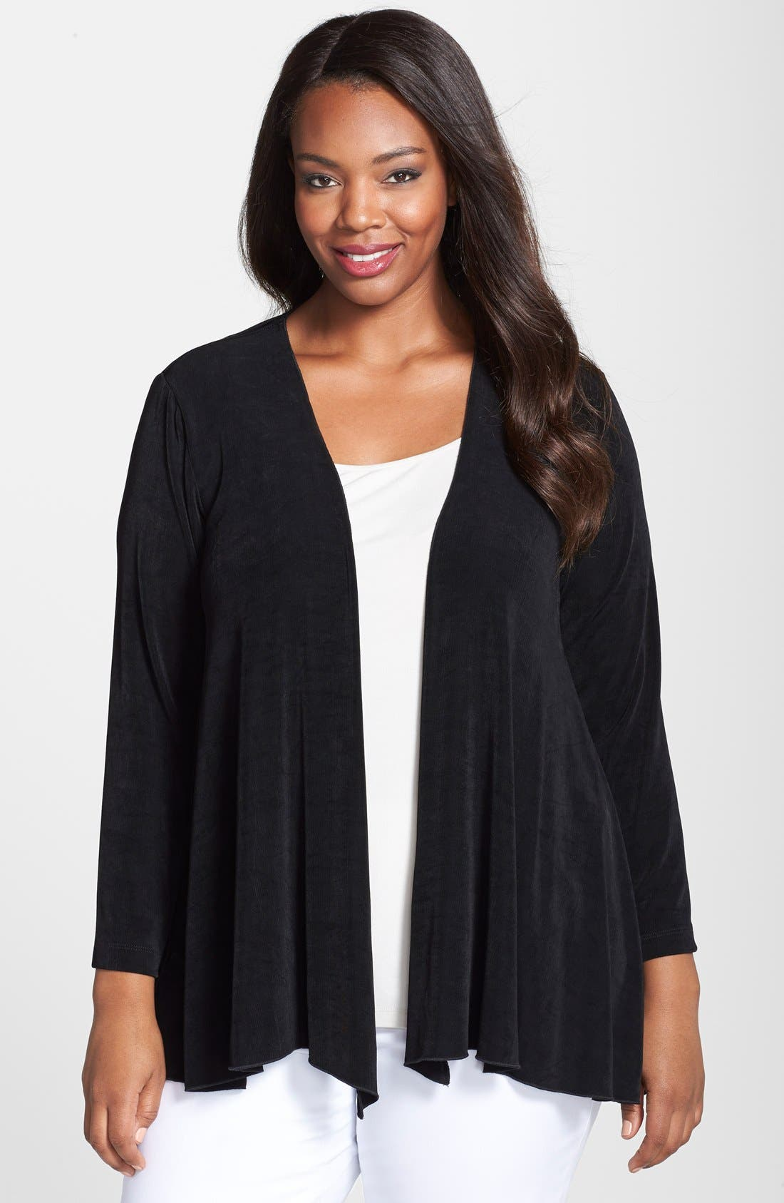 Open Front Swing Cardigan,                             Main thumbnail 1, color,                             BLACK