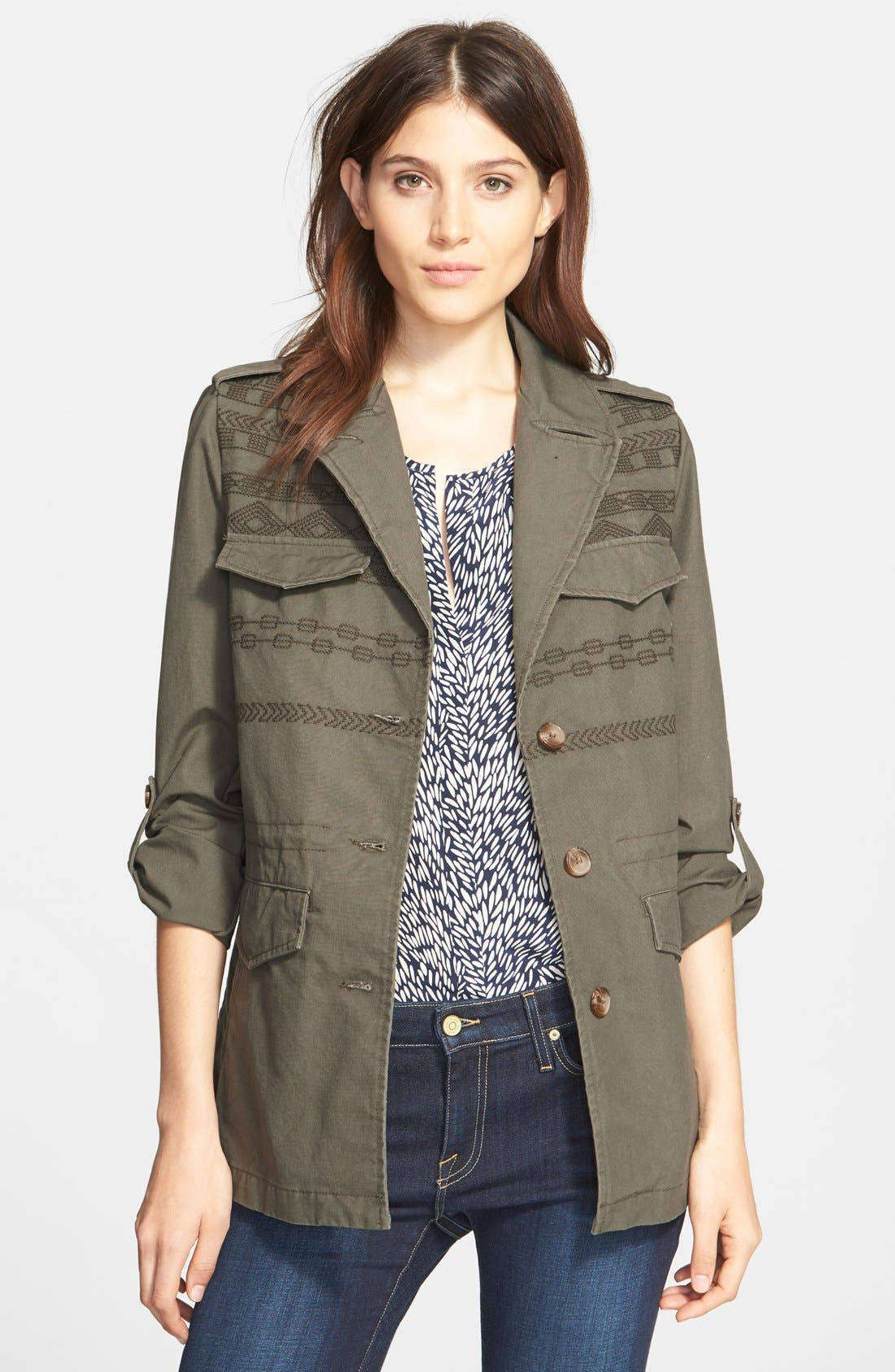 JOIE,                             'Evandale' Embroidered Military Jacket,                             Main thumbnail 1, color,                             344