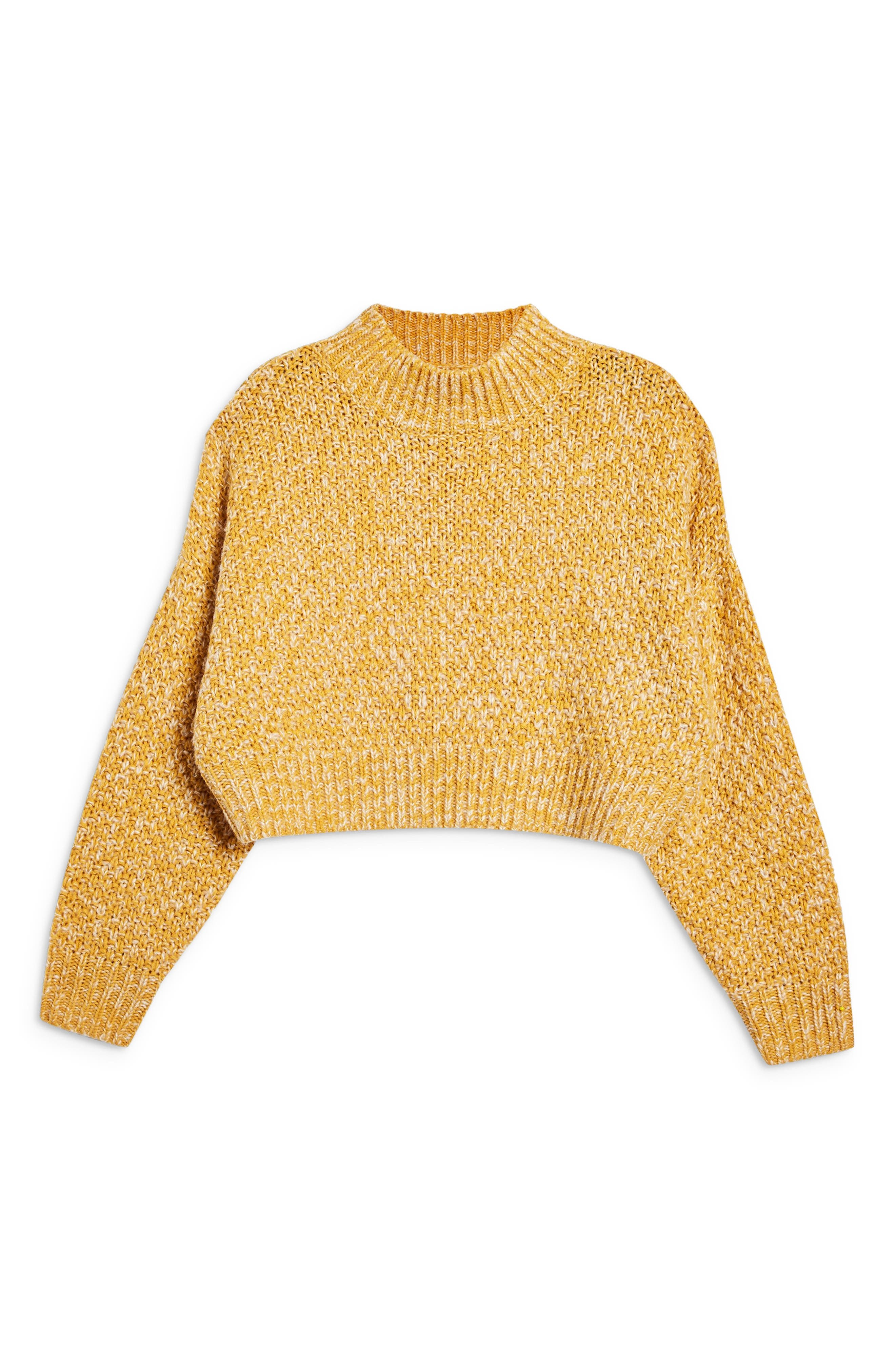 Curve Hem Crop Sweater,                             Alternate thumbnail 3, color,                             MUSTARD