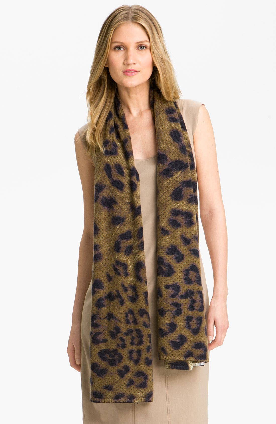 MAGASCHONI,                             Dotted Leopard Print Cashmere Scarf,                             Main thumbnail 1, color,                             200